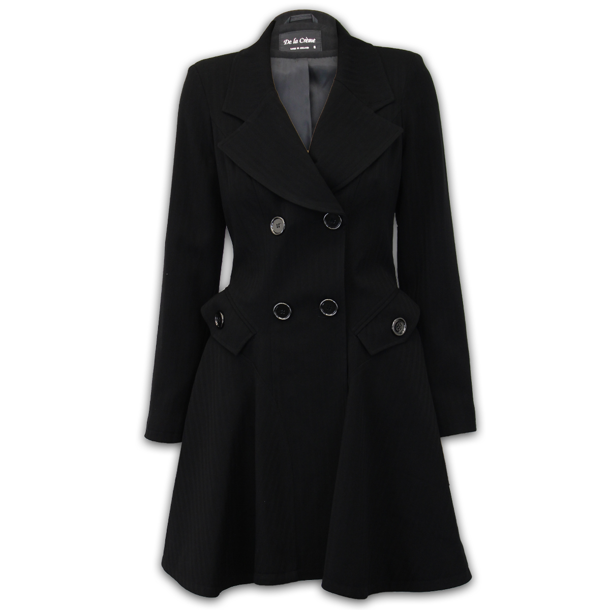 This coat is an exceptional fashion piece! This style with an accentuated waist and a flared hem is very eye-catching.