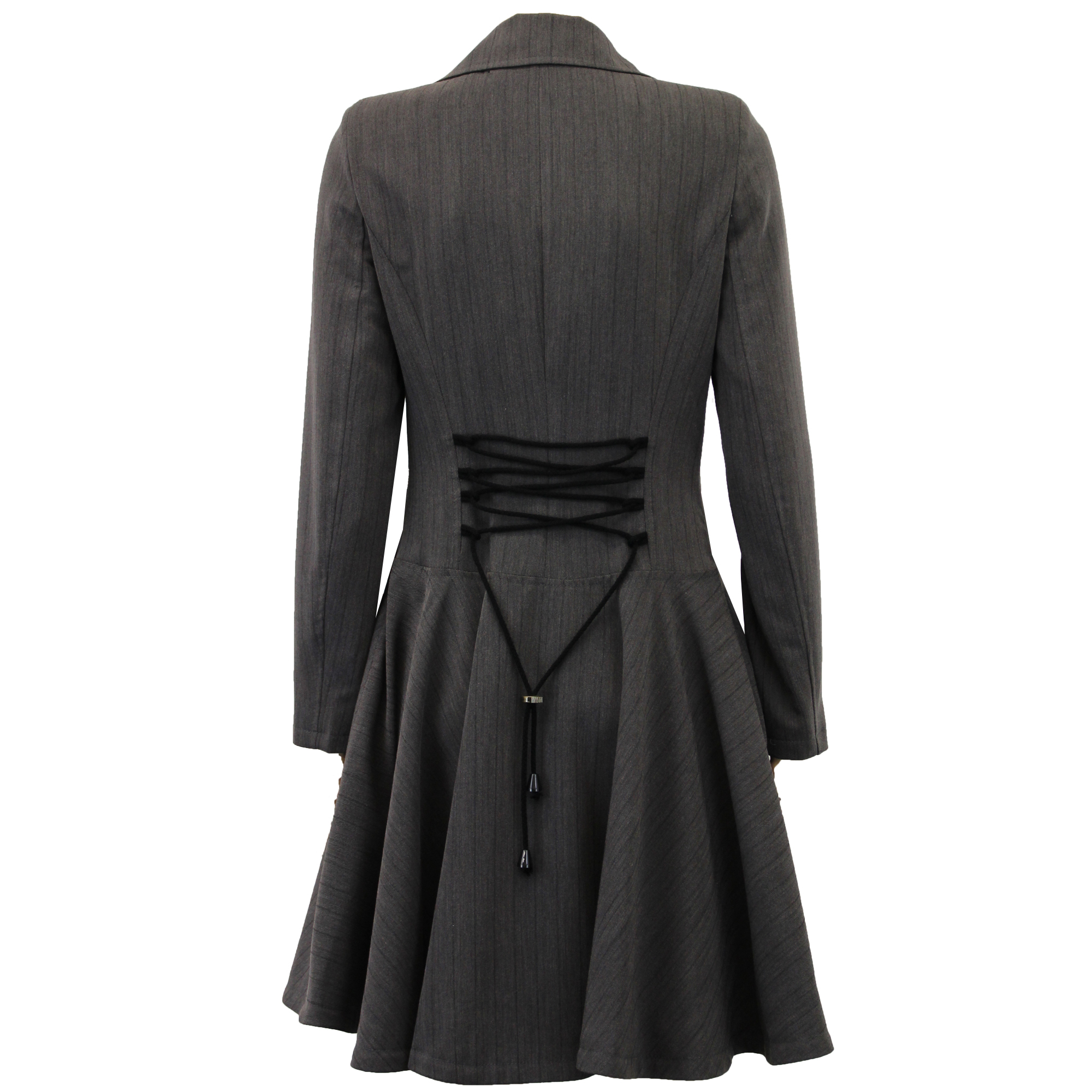 Ladies Coat Women Jacket Flared Double Breasted Trench ...
