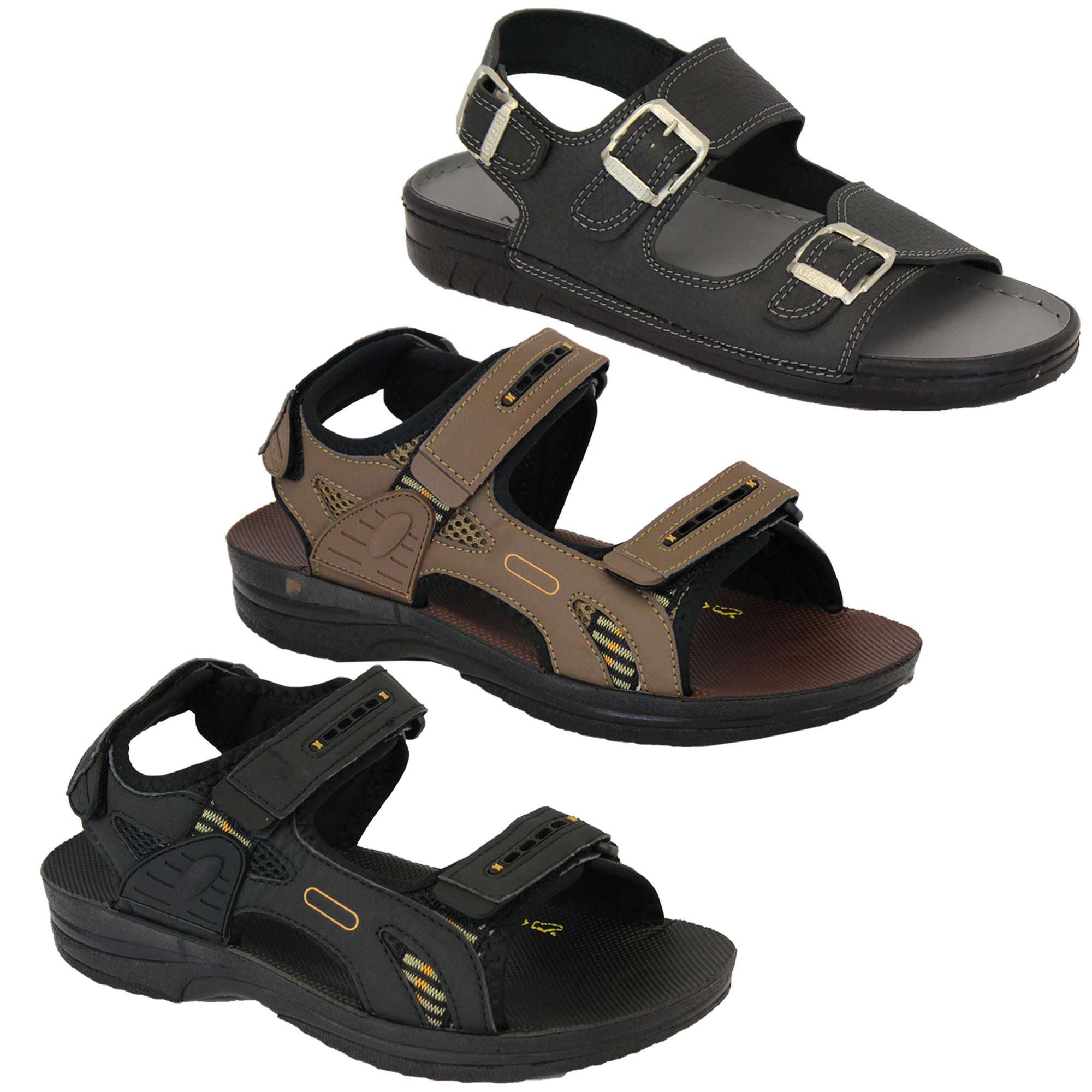 bc7e0532fad Mens Sandals Buckle Velcro Open Toe Walking Outdoor Beach Holiday ...