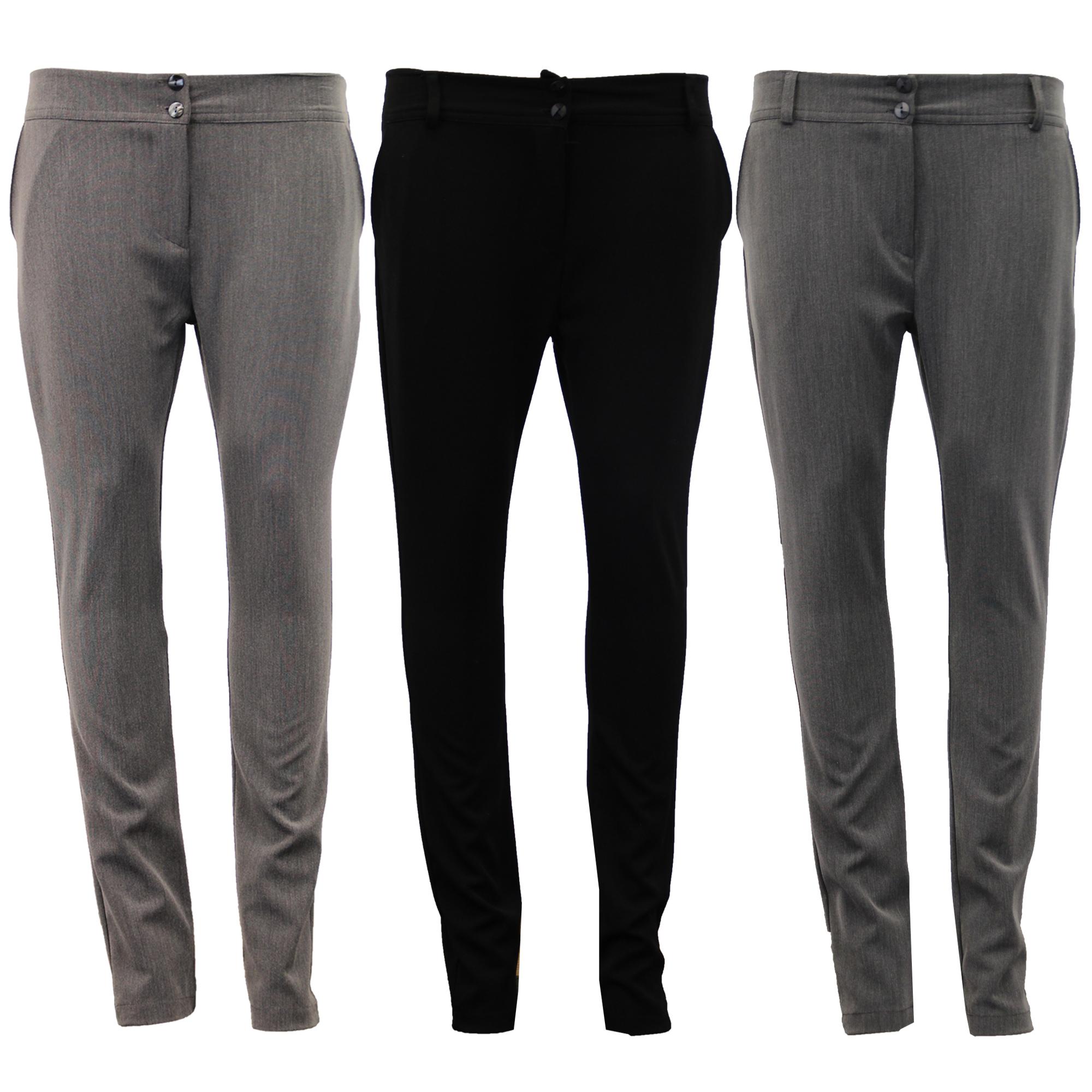 Ladies Trousers Womens Girls School Pants Formal Work ...