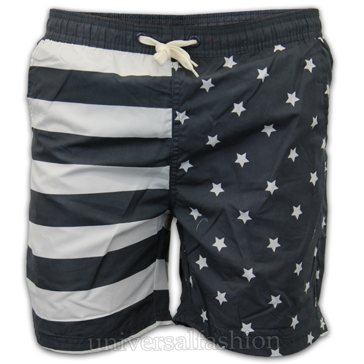 These attractive men's American Flag swim trunks display the stars and stripes in a whole new way. The waistband is white, elasticized, and includes a drawstring closure to help you keep it all together.5/5().
