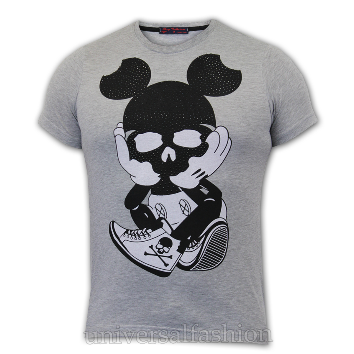 Mens T Shirt Mickey Mouse Harlem Print Studed Embroidered