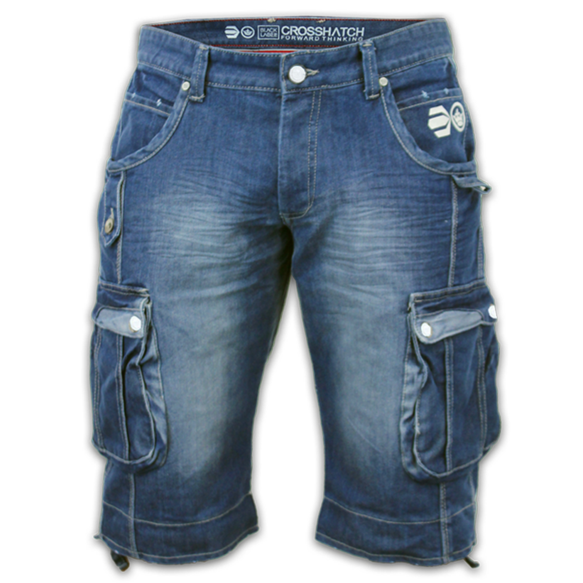 mens denim crosshatch shorts cargo combat jeans 3 4 roll. Black Bedroom Furniture Sets. Home Design Ideas