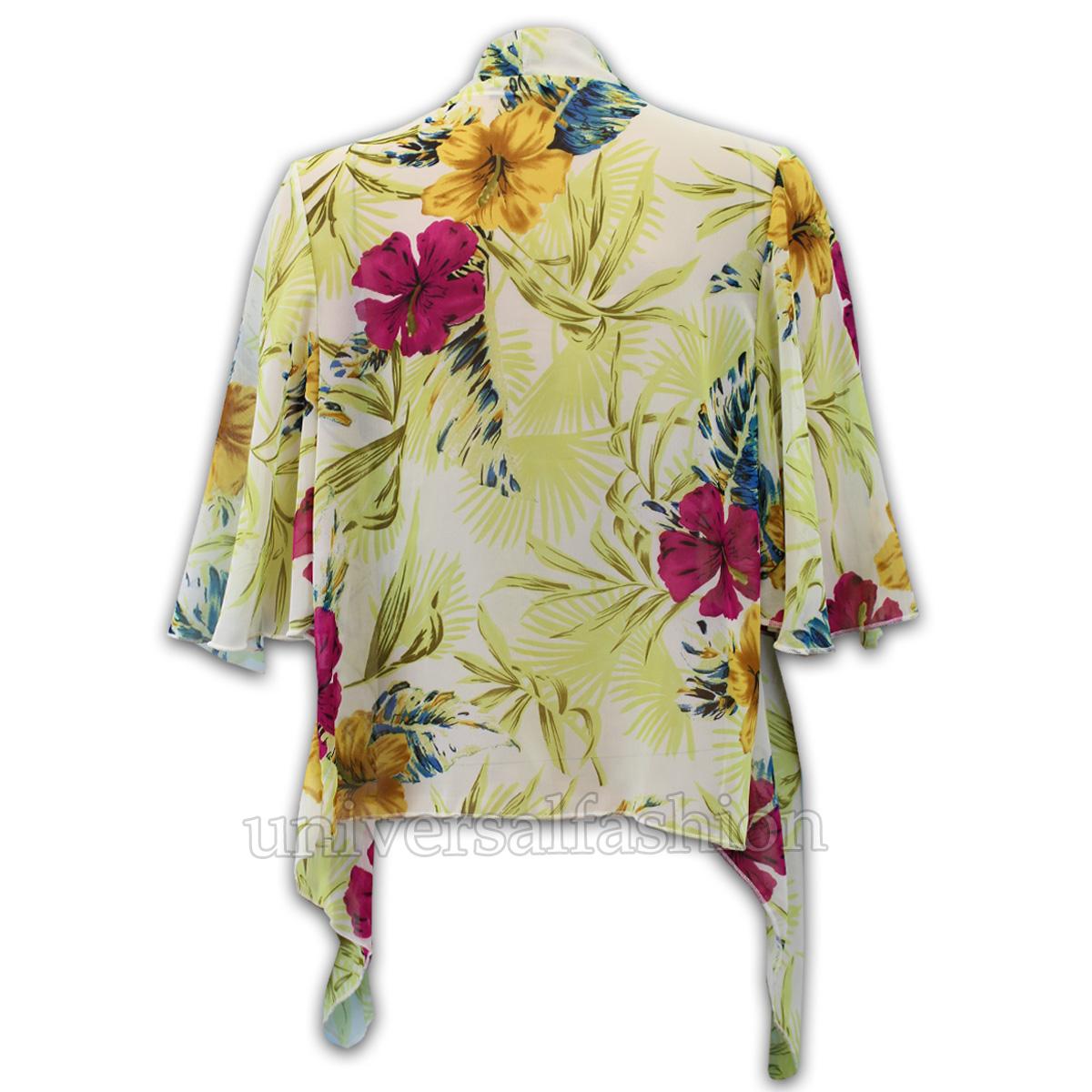 Ladies Cardigans Womens Kimono Chiffon Floral Top Loose Style Kaftan Open Front