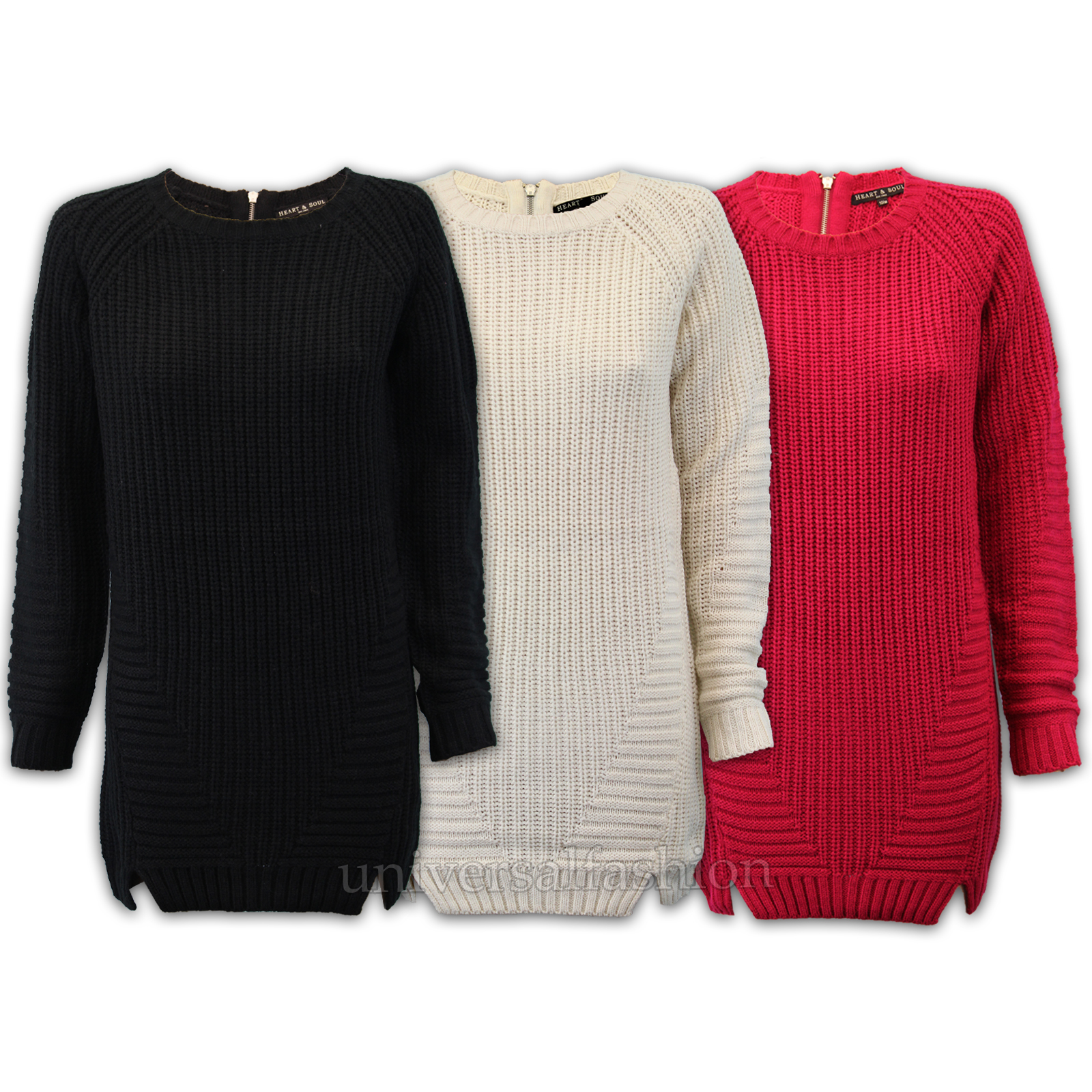 Ladies Jumper Heart /& Soul Womens Cable Knitted Long Sweater Zip Crew Winter New