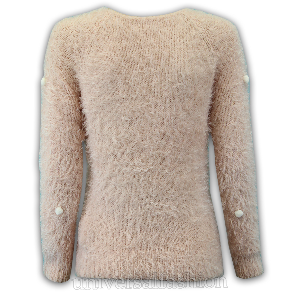 Ladies Mohair Jumper Womens Knitted Fluffy Pom Pom Sweater Zip ...