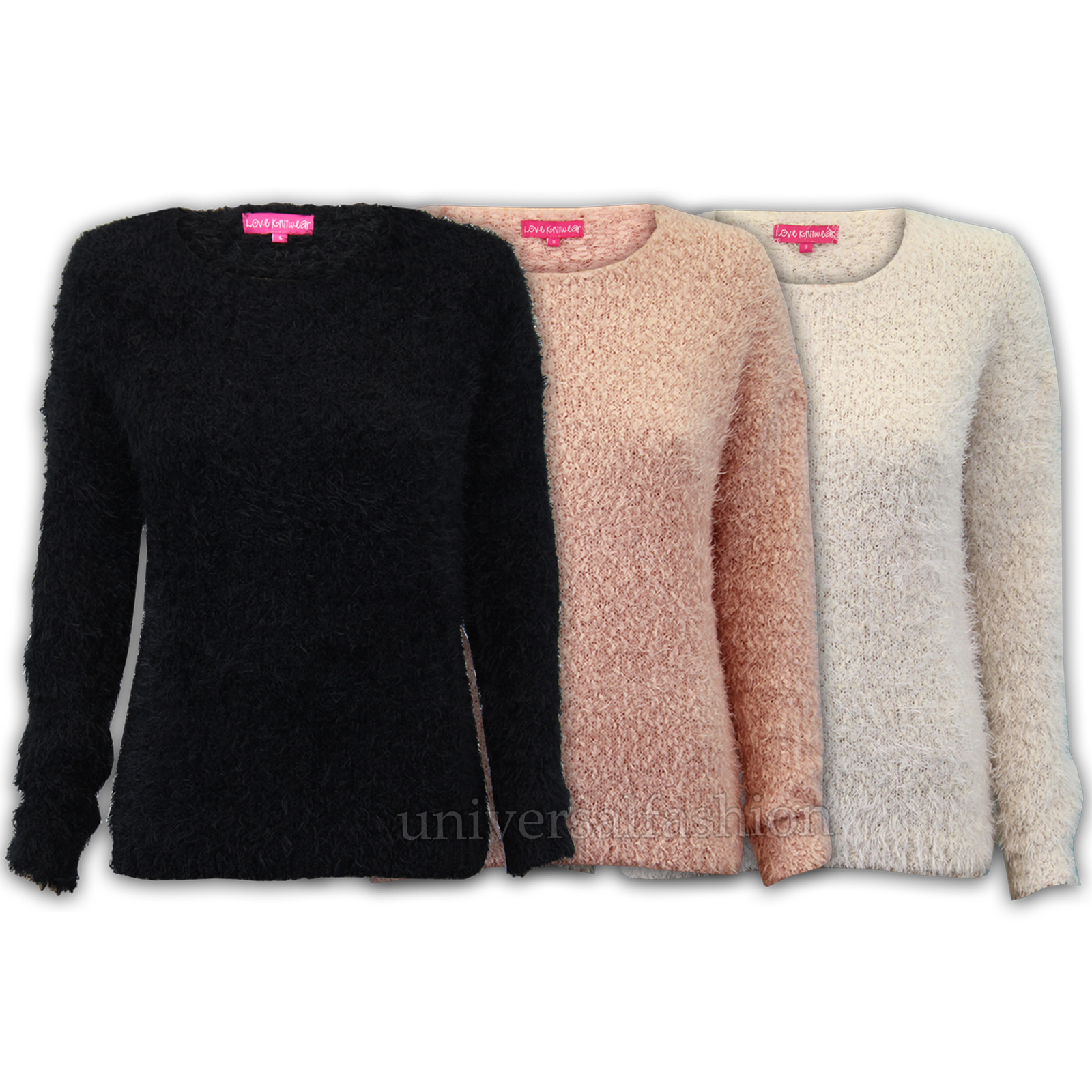 Ladies Mohair Jumper Womens Knitted Fluffy Eyelash Sweater Pullover Winter New