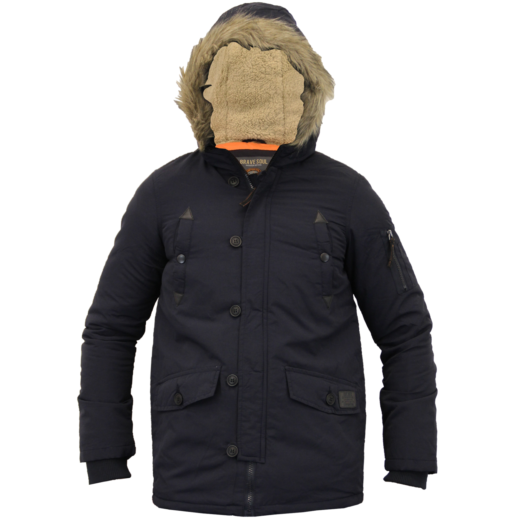 Boys Jacket Parka Coat Brave Soul Kids Padded Sherpa Hooded Fur Lined Winter New | EBay