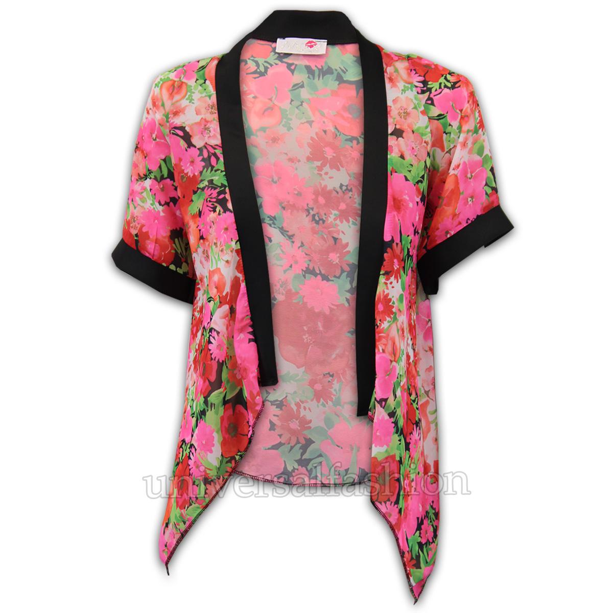 Ladies Cardigans Womens Kimono Chiffon Floral Top Loose ...