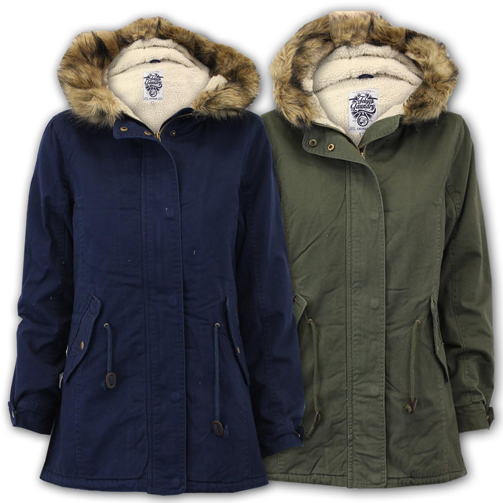Ladies Fish Tail Parka Jackets Tokyo Laundry Coat Womens Hooded ...
