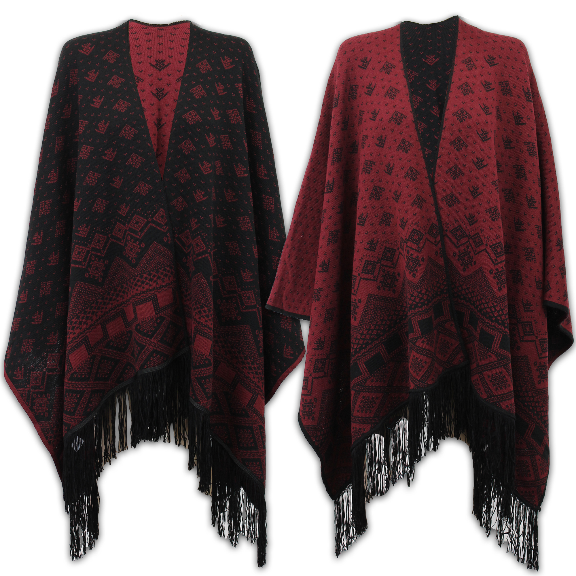 Ladies Shawl Womens Knitted Poncho Cardigan Reversible Aztec Cape Oversized N...