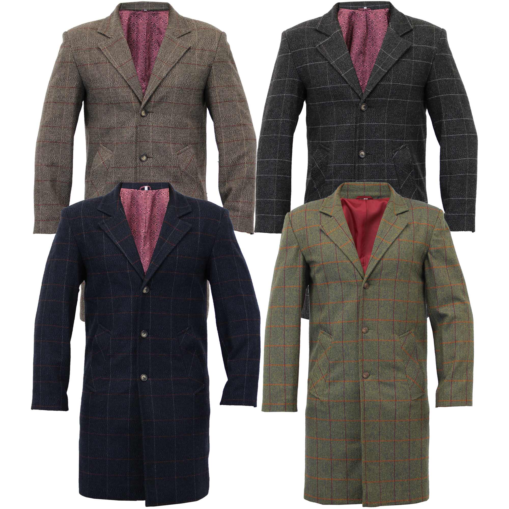 Mens Wool Mix Trench Coat Checked Long Jacket Herringbone Tweed