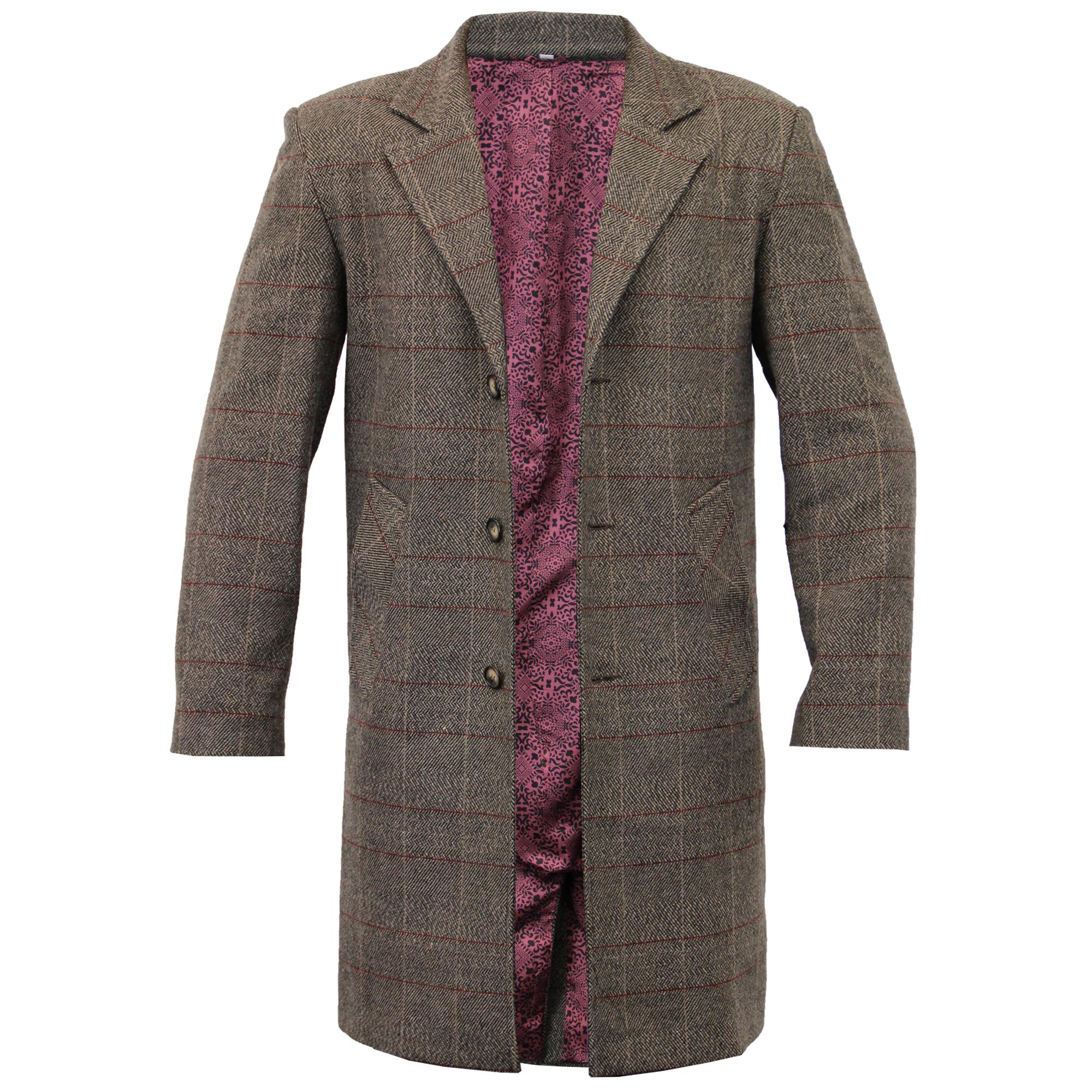 Mens Wool Mix Trench Coat Checked Long Jacket Herringbone Tweed ...