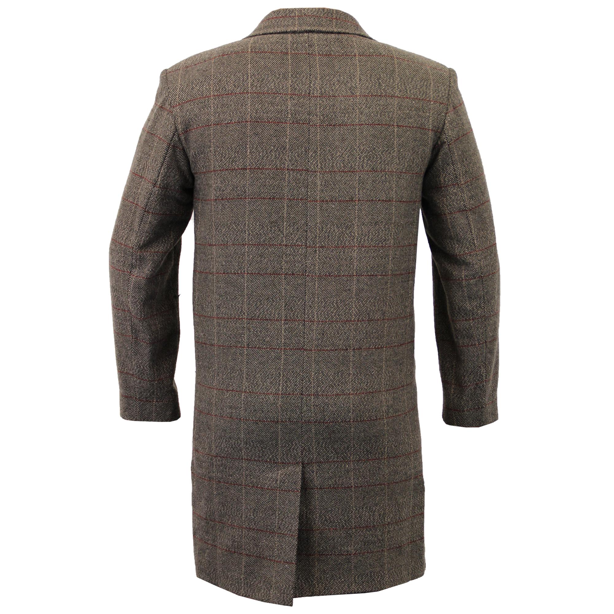 Mens-Wool-Mix-Trench-Coat-Checked-Long-Jacket-Herringbone-Tweed-Overcoat-Lined thumbnail 4