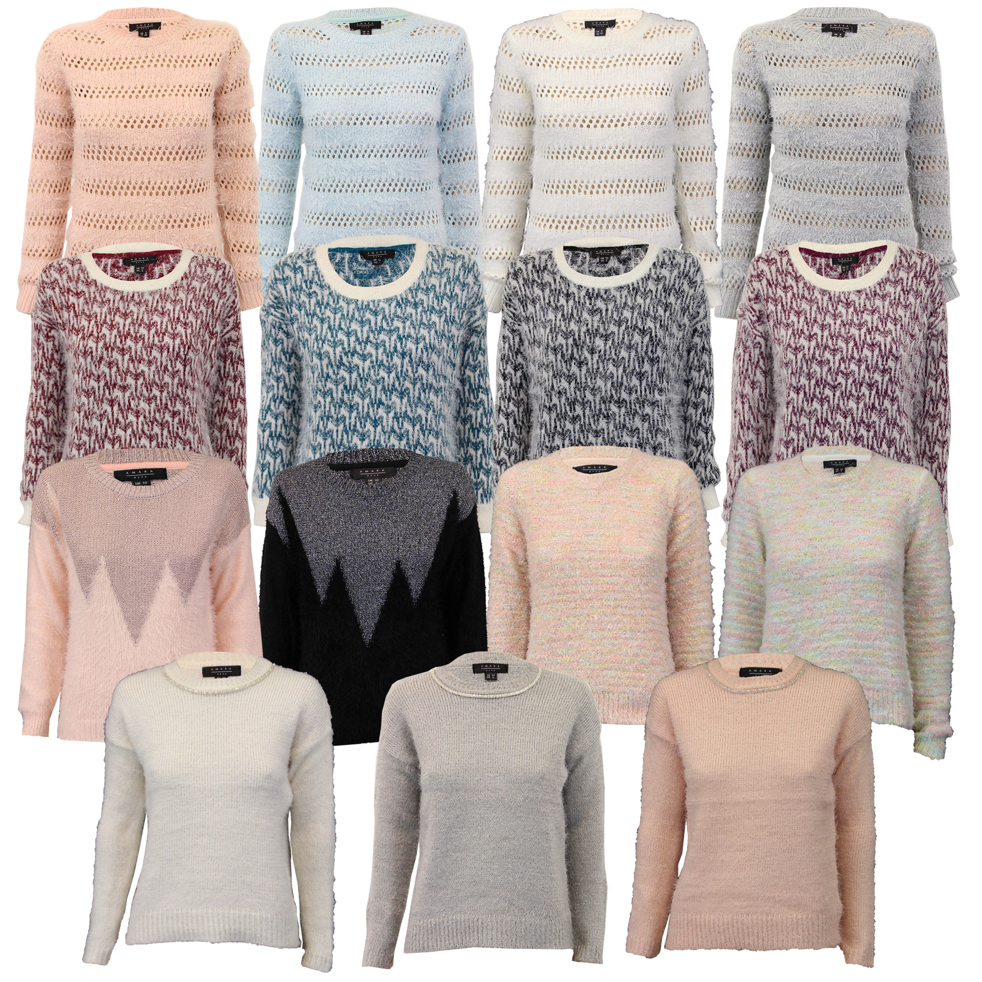 Ladies Jumpers Womens Knitted Mohair Top Pullover Sweater Amara ...