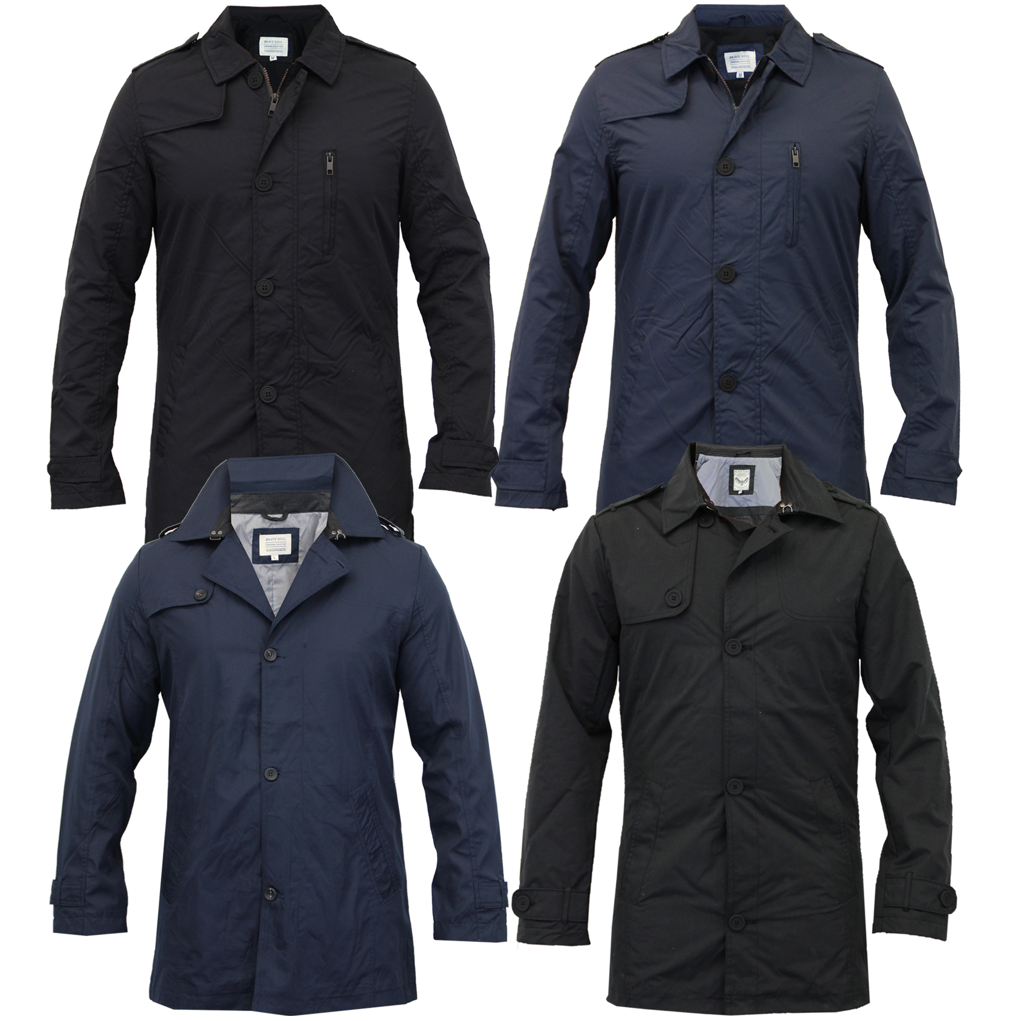 Mens jacket casual - Mens Brave Soul Jacket Collared Coat Trench Button