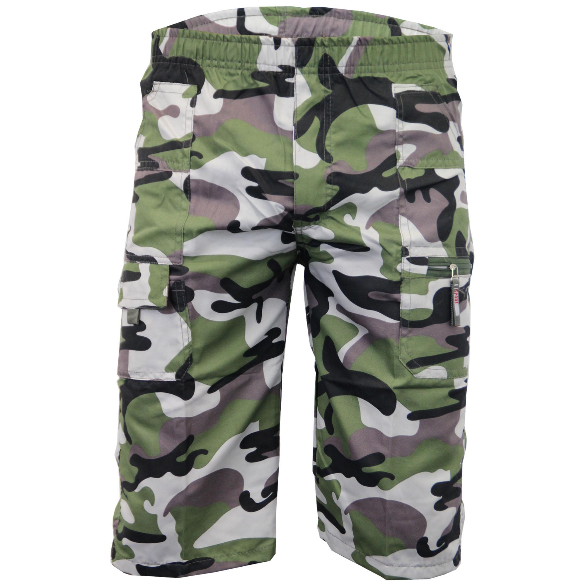 Boys Kids Camouflage 3 4 Combat Cargo Summer Shorts | eBay