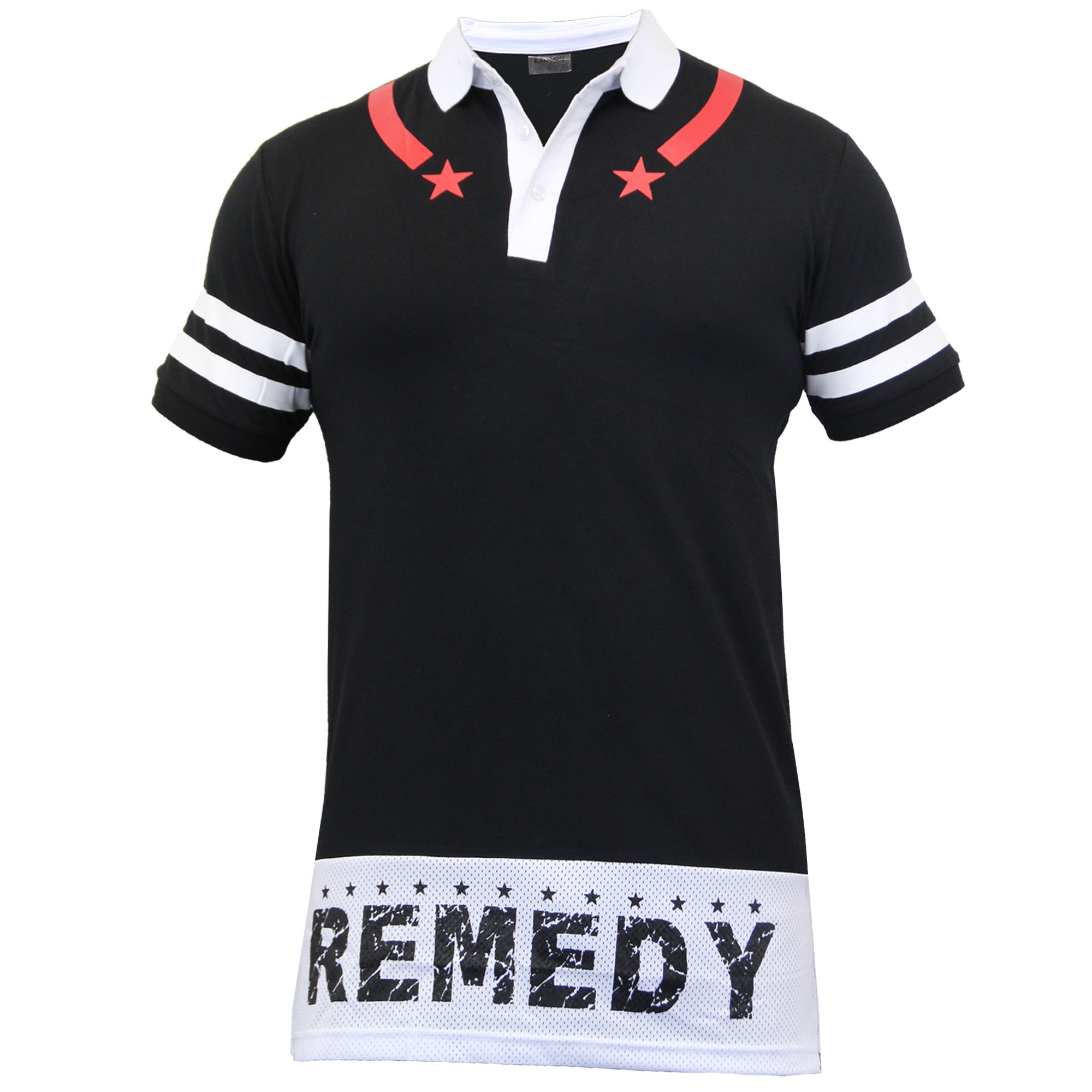Mens polo t shirt long line short sleeved jersey stars for Mens shirt with stars