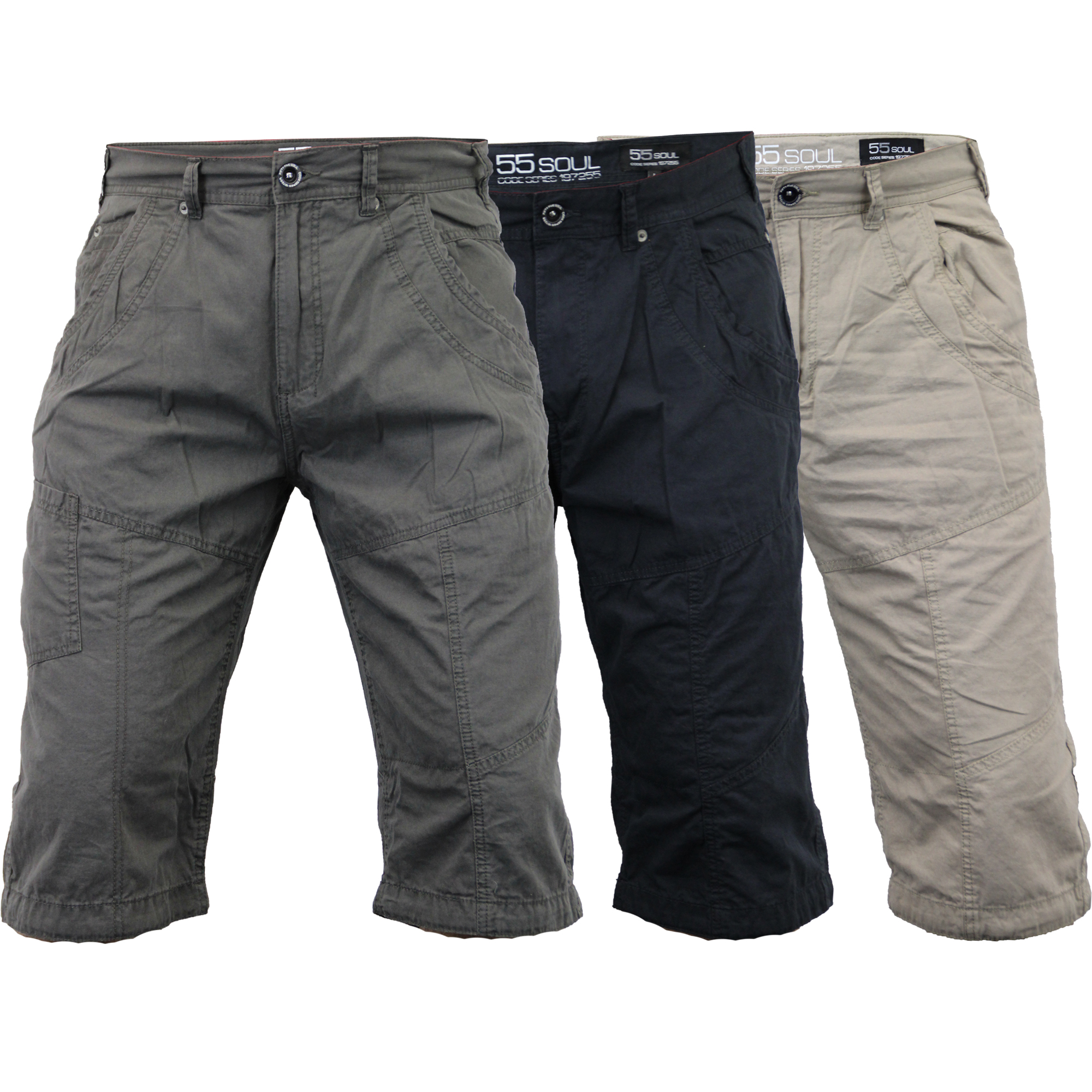Mens Shorts 55 Soul Chino Style Bottoms Knee Length Half Pants ...