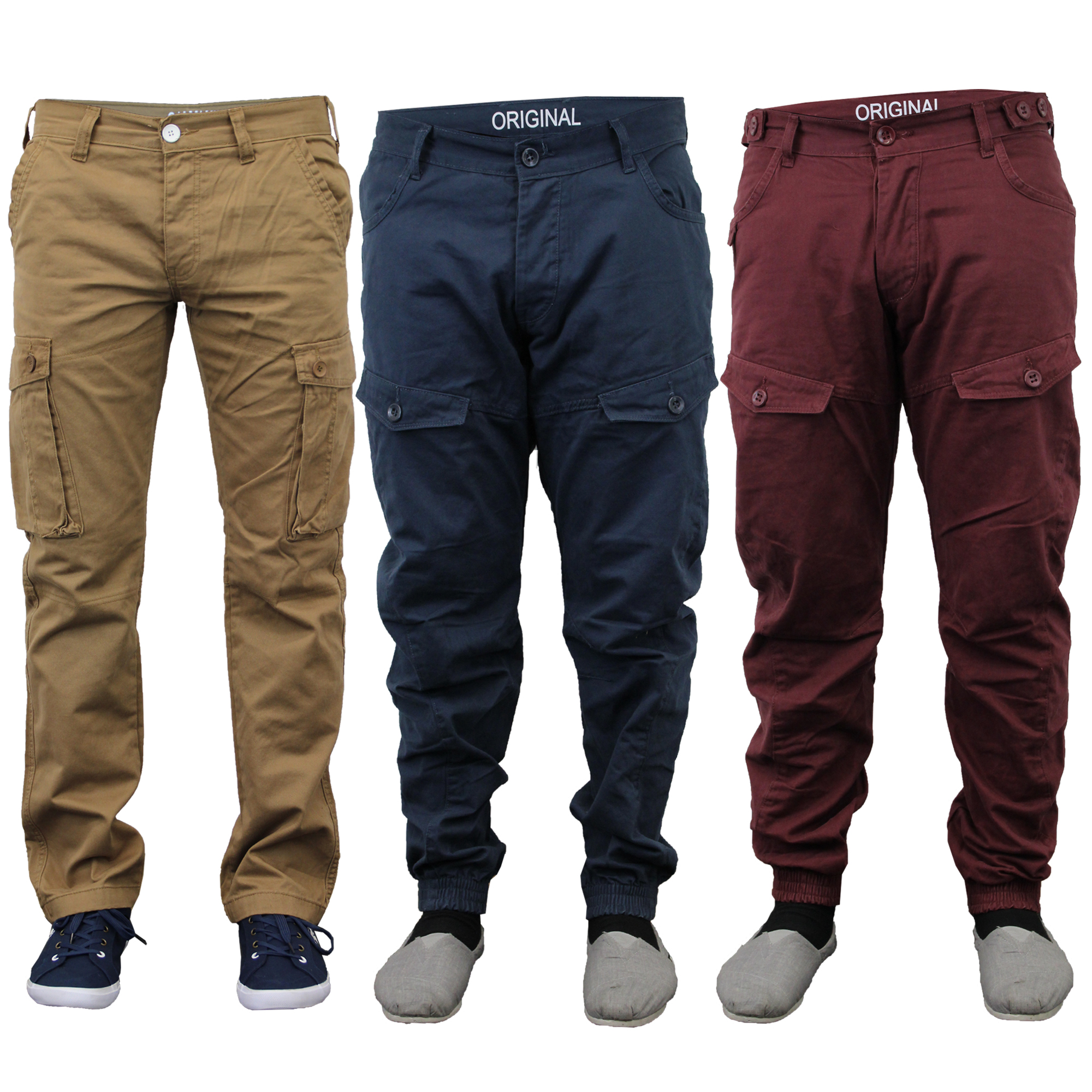 Mens Jeans Chino Style Cargo Pants Denim Cuffed Bottoms Twisted ...