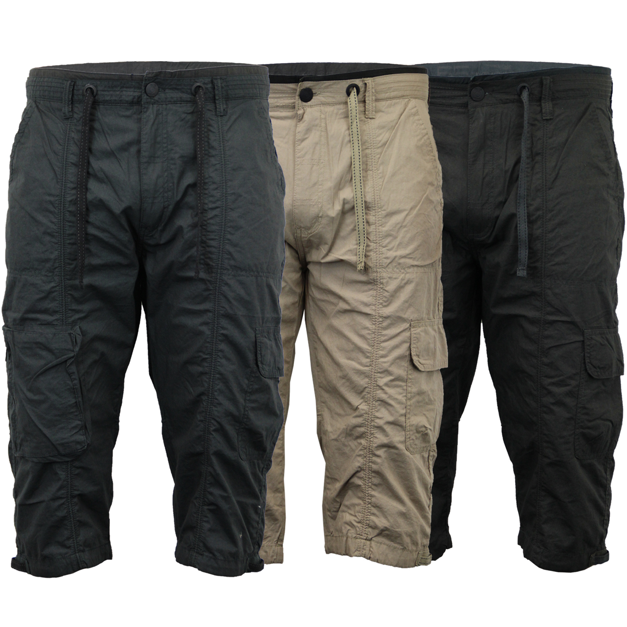 Mens Shorts 55 Soul Combat Cargo Bottoms Half Pants 3 4 Quarter ...