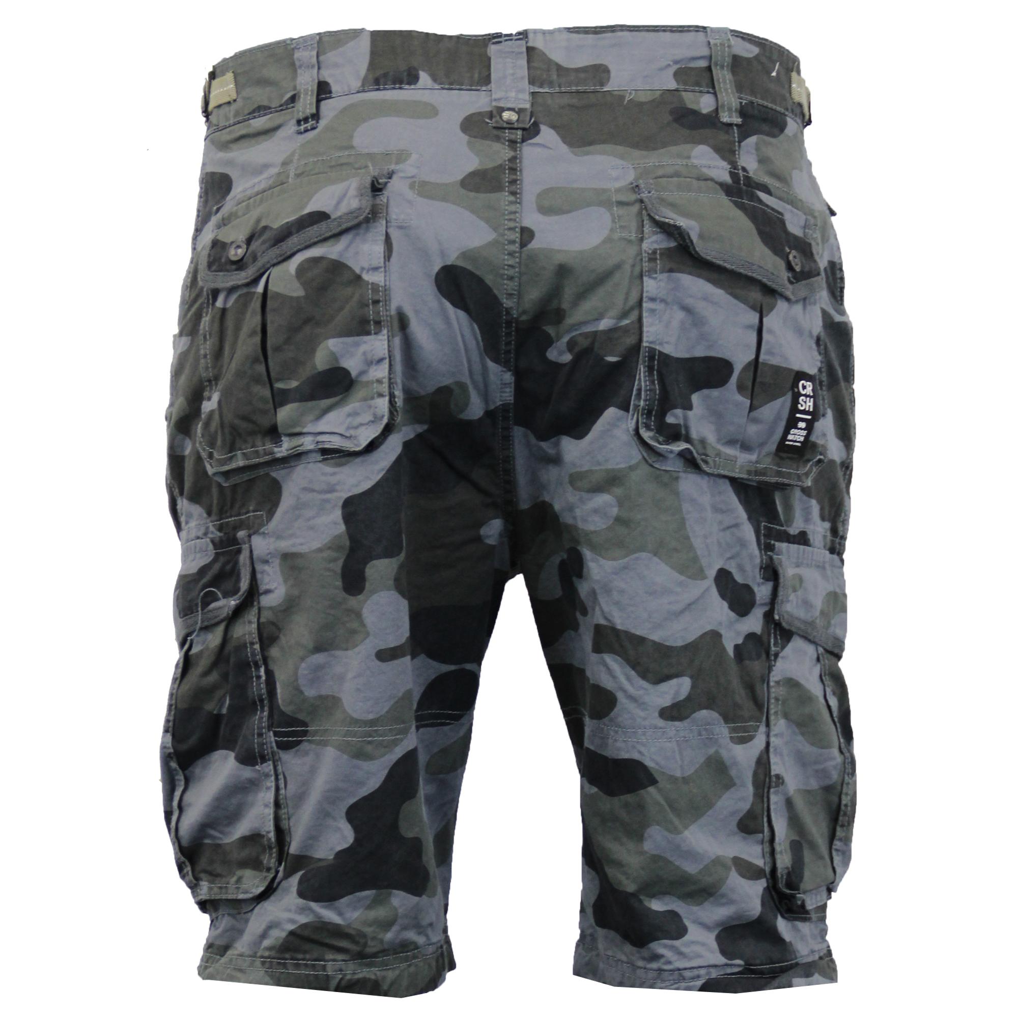 mens crosshatch camouflage shorts cargo combat belt knee length jeans military ebay. Black Bedroom Furniture Sets. Home Design Ideas