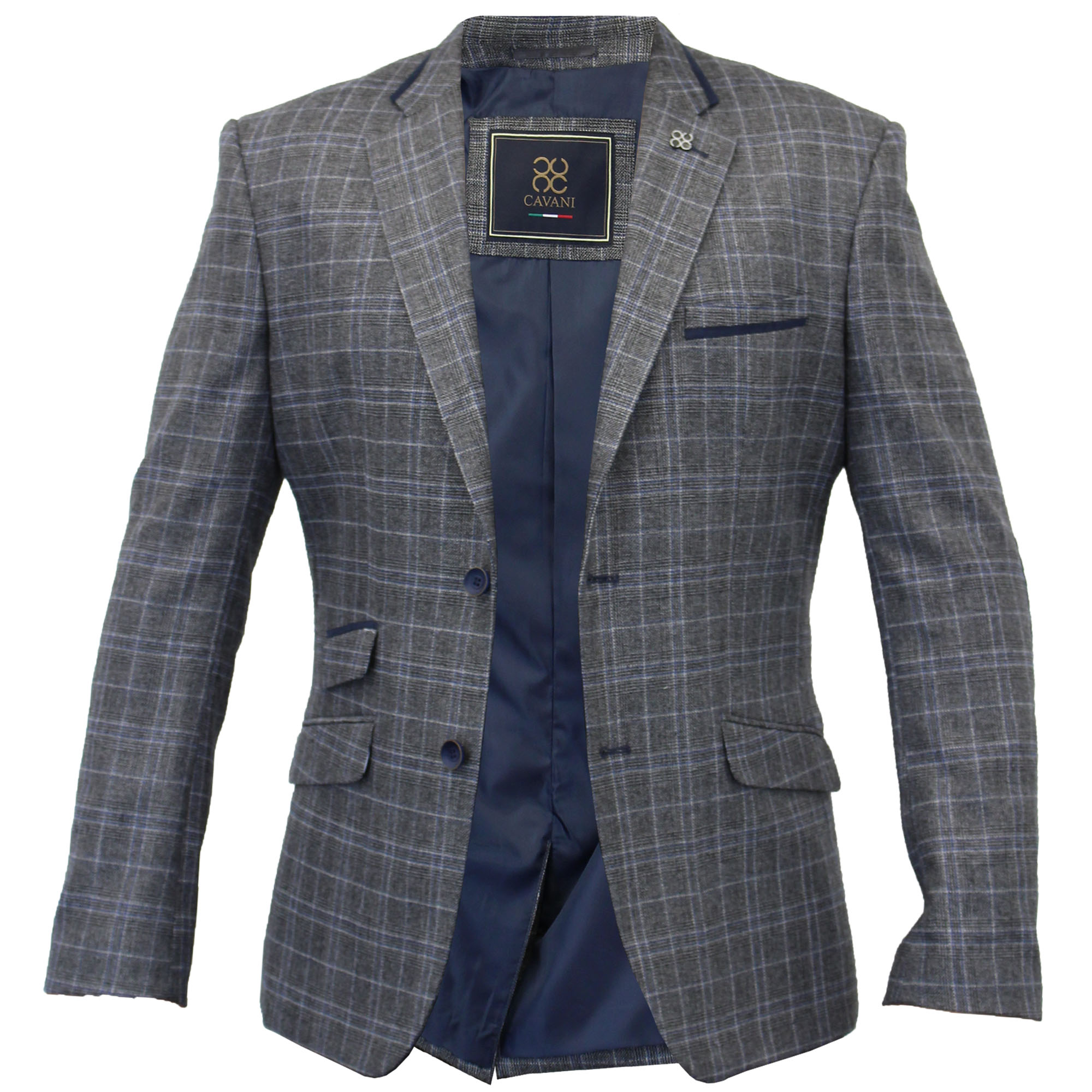 Mens Blazer Formal Coat Herringbone Checked Tweed Suit Jacket ...