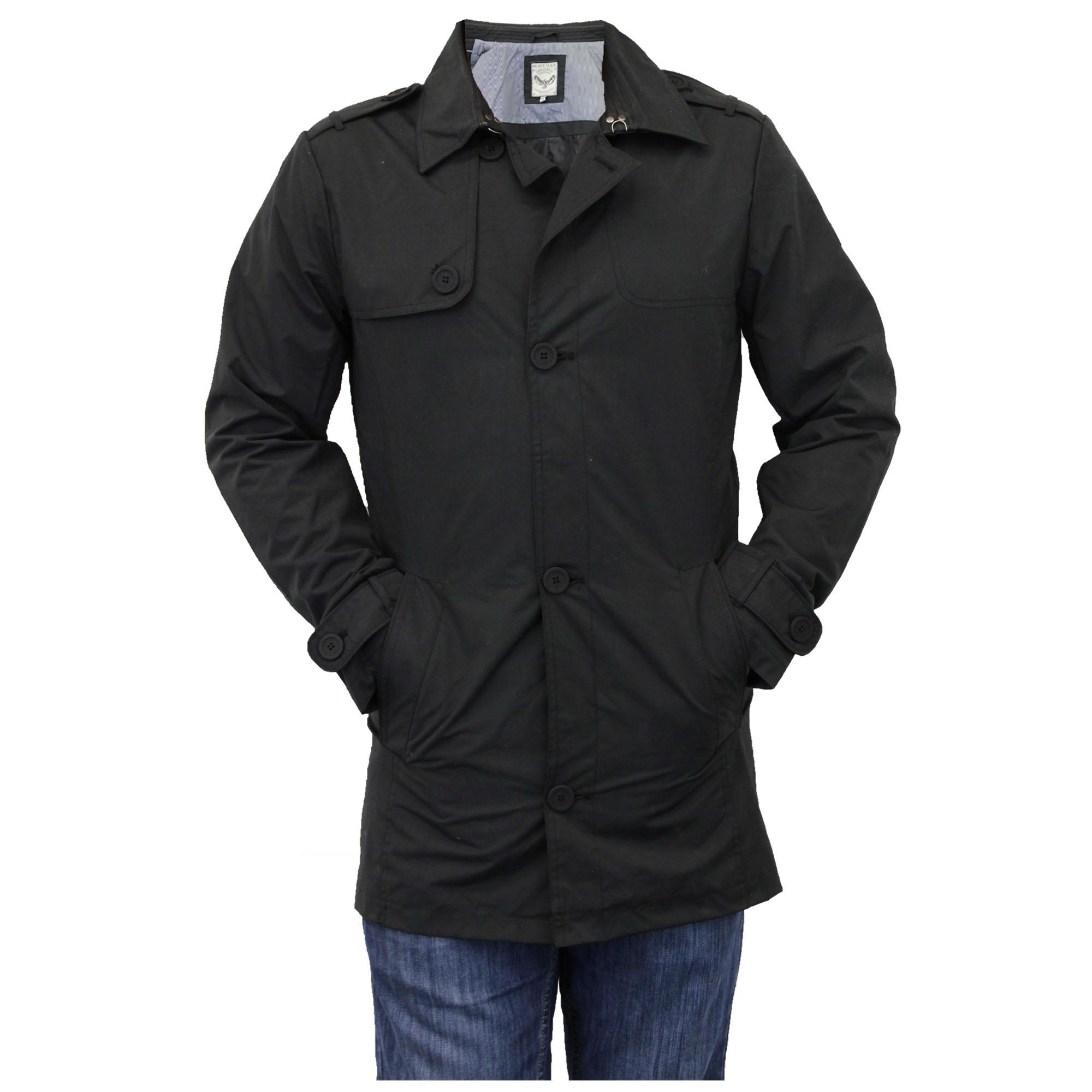 mens jacket brave soul mac trench coat military double. Black Bedroom Furniture Sets. Home Design Ideas