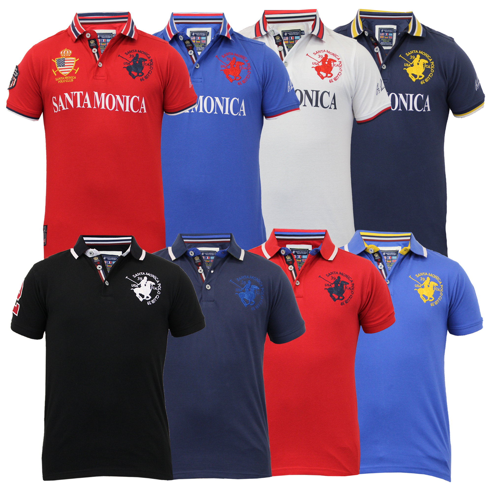 Boys Polo T Shirt Santa Monica Kids Pique Top American Usa