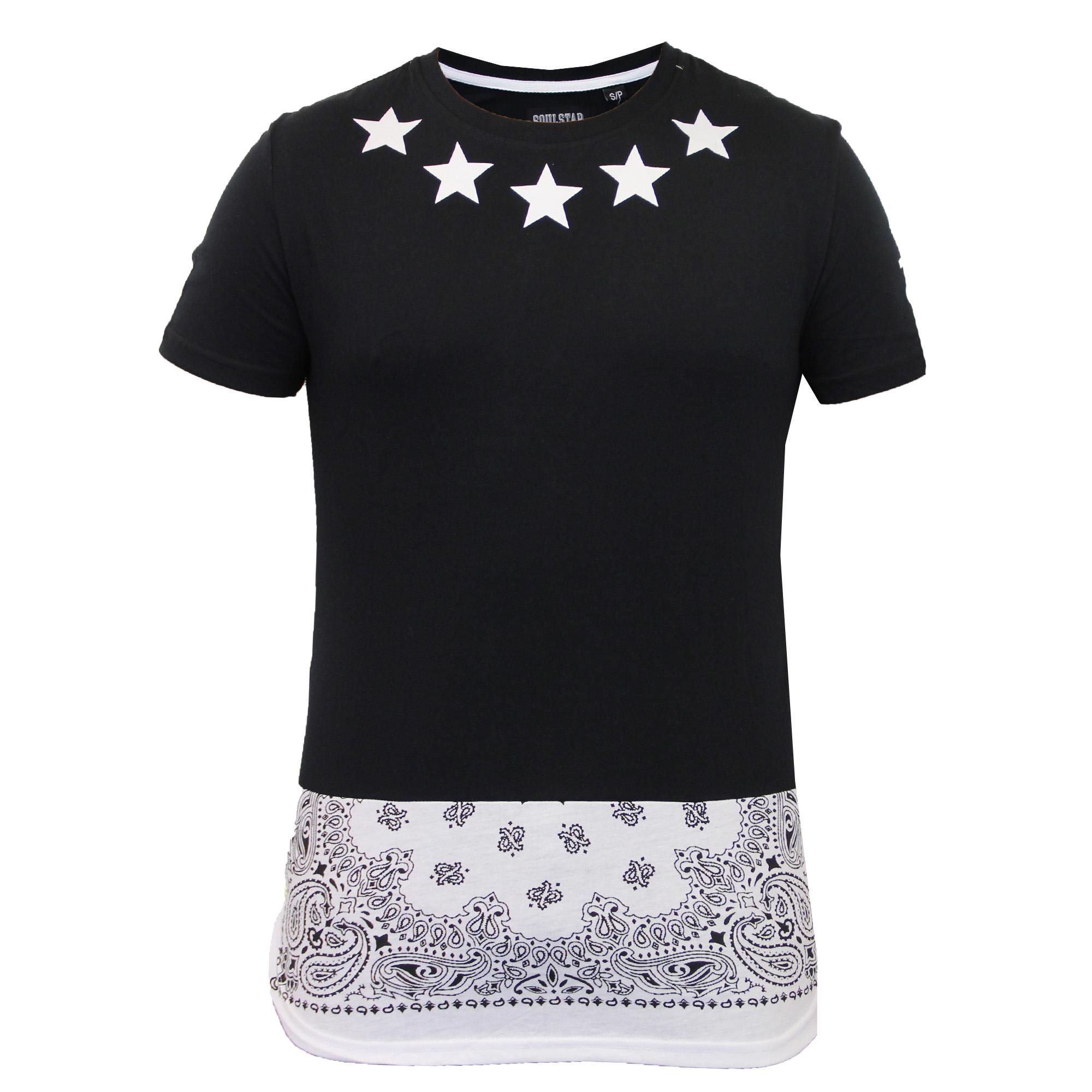 Mens long line t shirt soul star top tartan paisley pvc for Long line short sleeve t shirt
