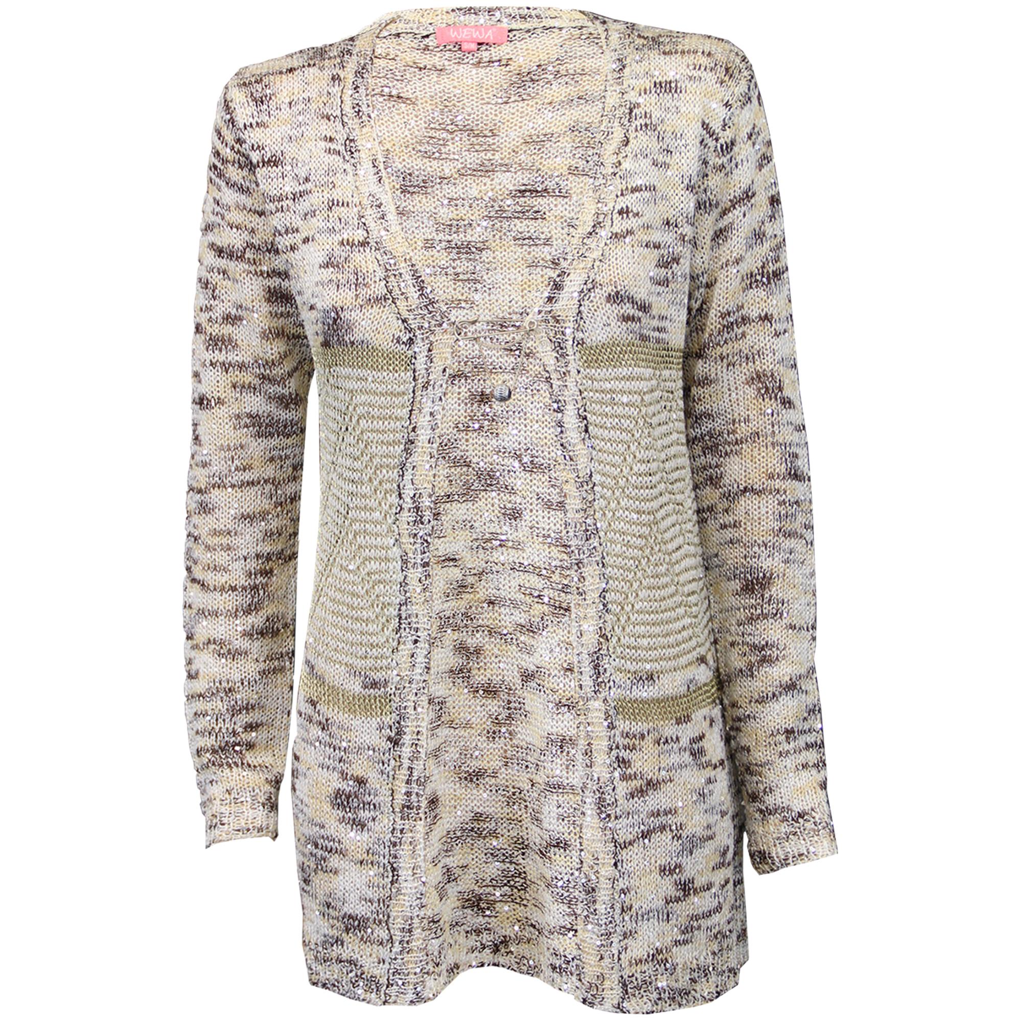 Ladies Cardigan Womens Knitted Metallic Yarn Wool Mix