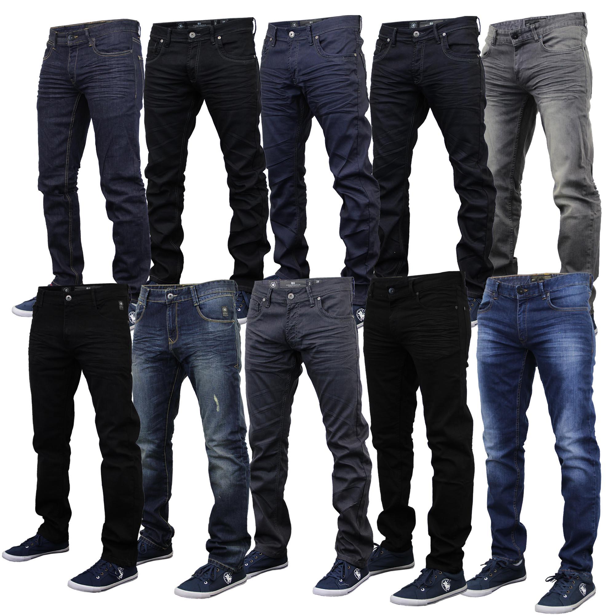 Mens Denim Jeans Crosshatch Pants Slim Fit Straight Leg Bottoms Trouser Ruched | eBay