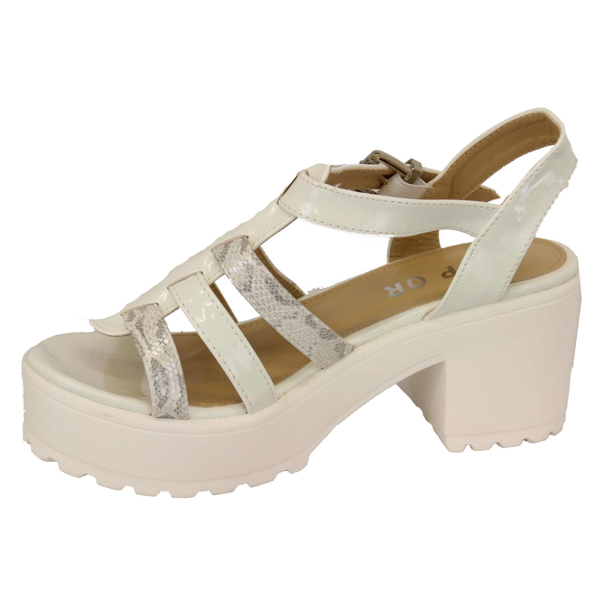 Ladies Sandals Womens Cleated Chunky Block Heel Mesh Platforms Strap Patent New