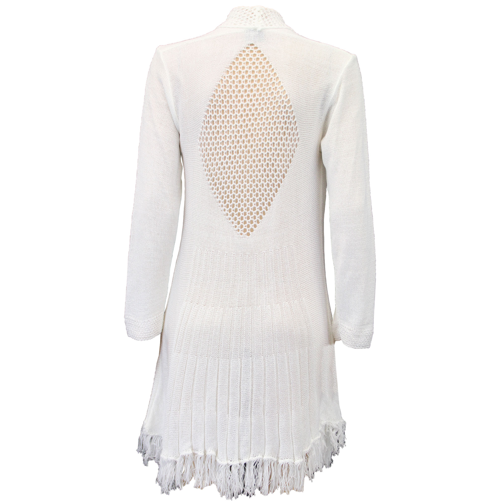 Ladies Cardigan Womens Knitted Open Front Waterfall Boyfriend Crochet Winter ...