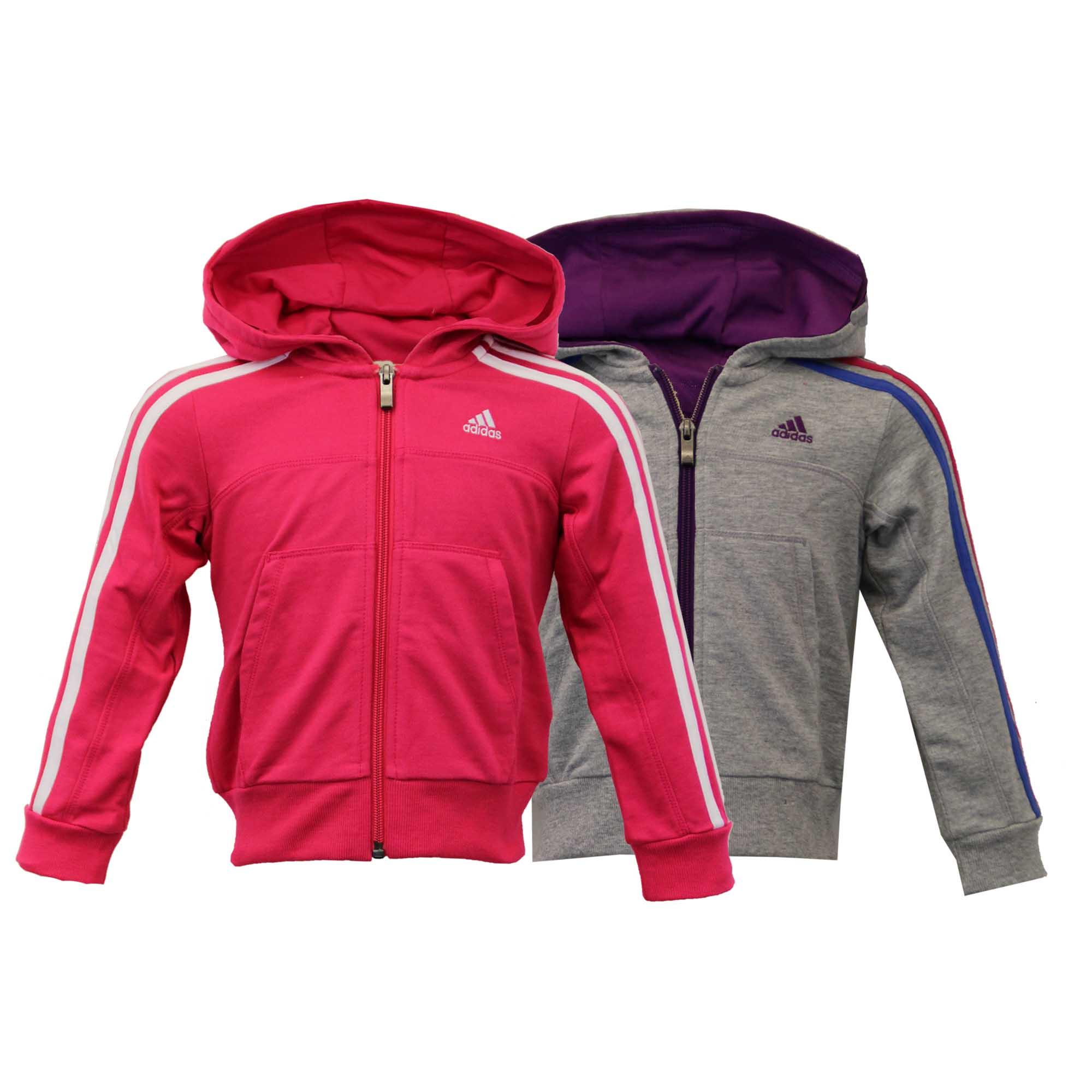 Girls Sweatshirt ADIDAS Kids Hooded Stripes Top Children Casual Zip Loopback New | eBay