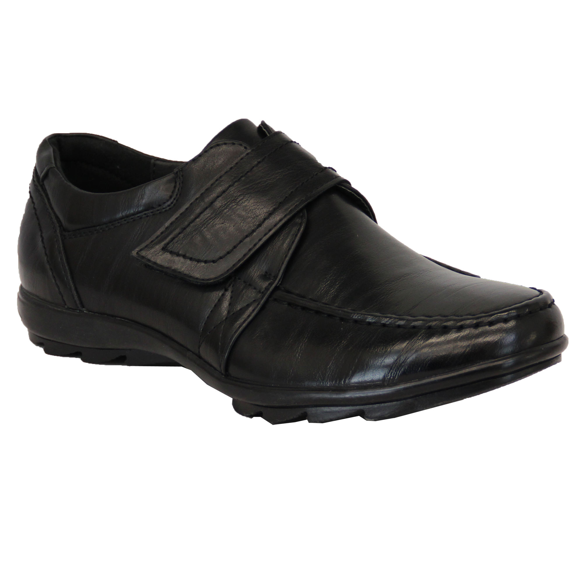 boys school shoes formal leather look velcro lace up