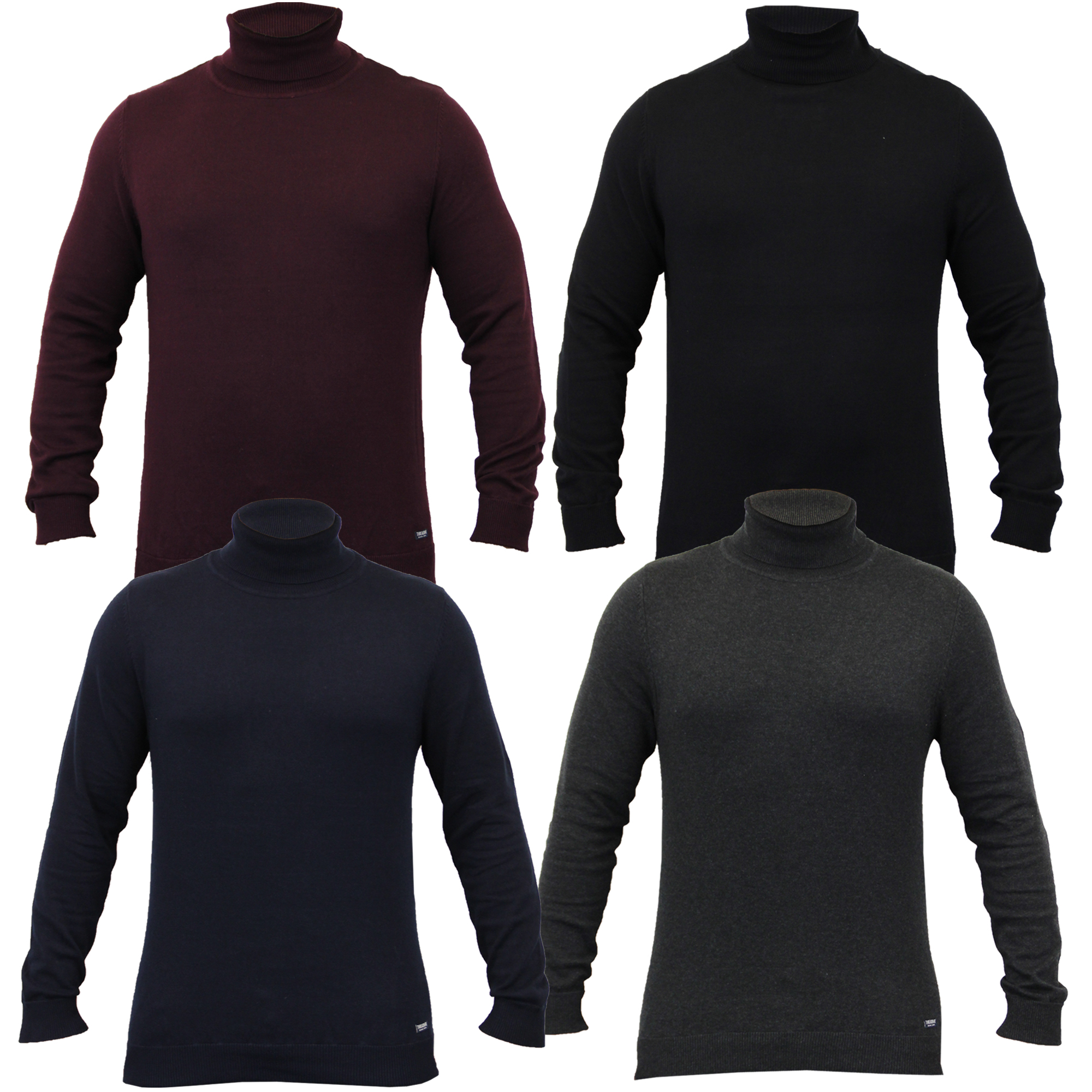 Mens Jumper Threadbare Knitted Sweater Top Turtle Polo Neck Pullover Winter New