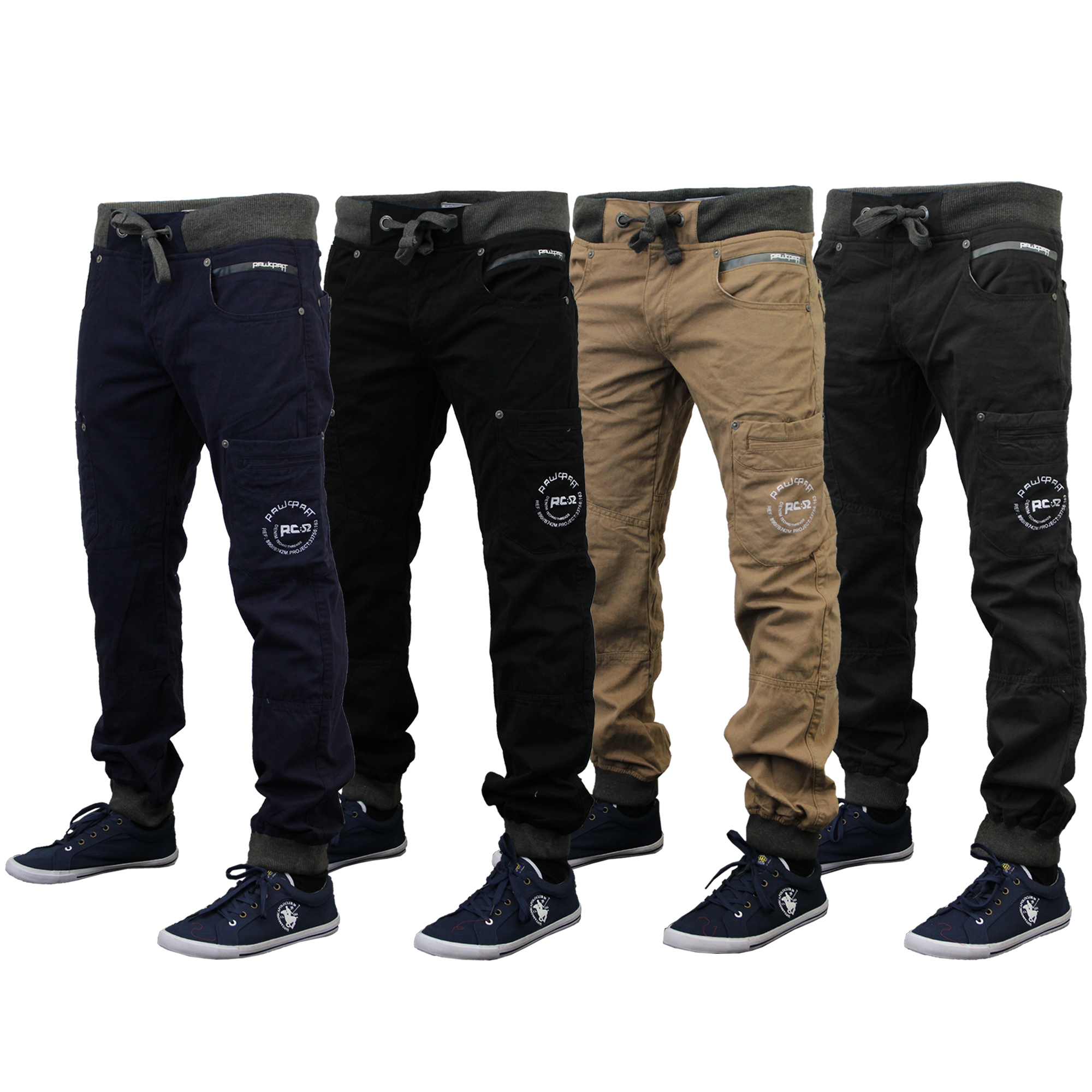homme chino jeans rawcraft combat pantalon de surv tement bas pantalon revers casual nouveau. Black Bedroom Furniture Sets. Home Design Ideas