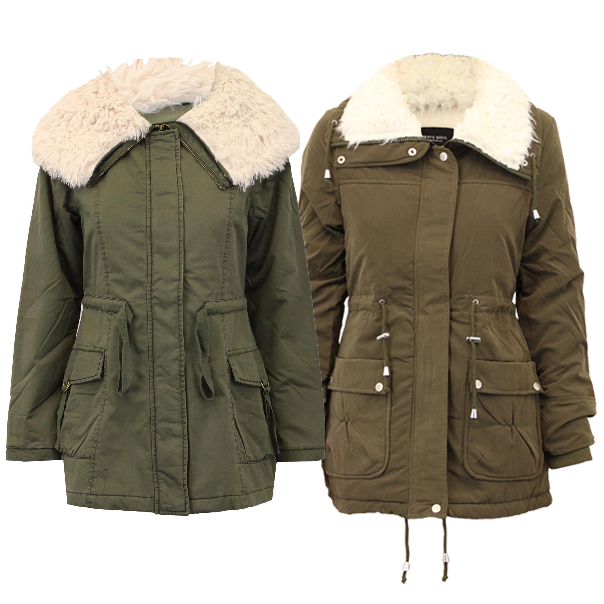 ladies parka jacket brave soul womens coat quilted padded. Black Bedroom Furniture Sets. Home Design Ideas