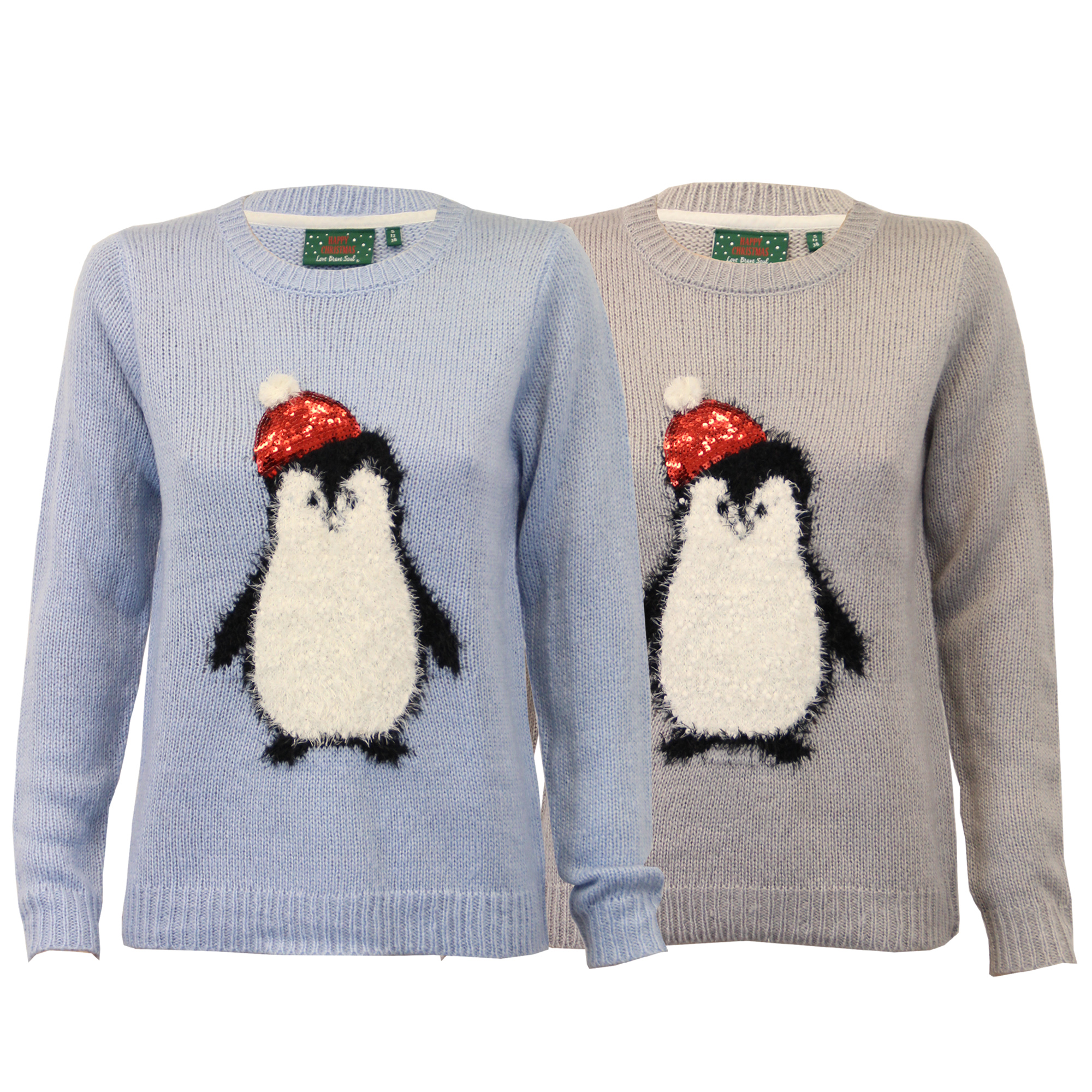Christmas Penguin Jumper Knitting Pattern : Ladies Christmas Jumper Brave Soul Womens Penguin Pom Pom Mohair Knitted Sequin