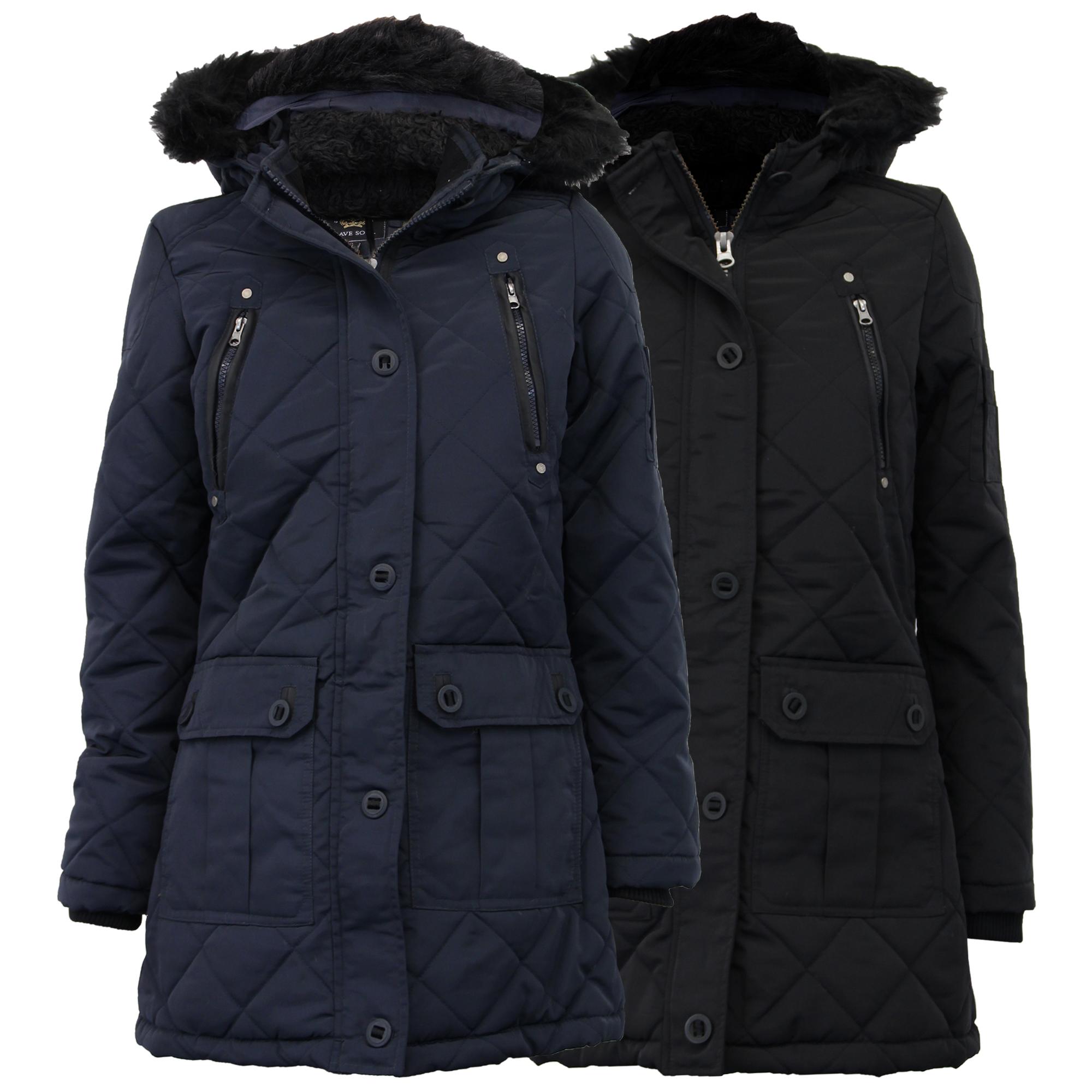 ladies parka jacket brave soul womens coat padded hooded. Black Bedroom Furniture Sets. Home Design Ideas