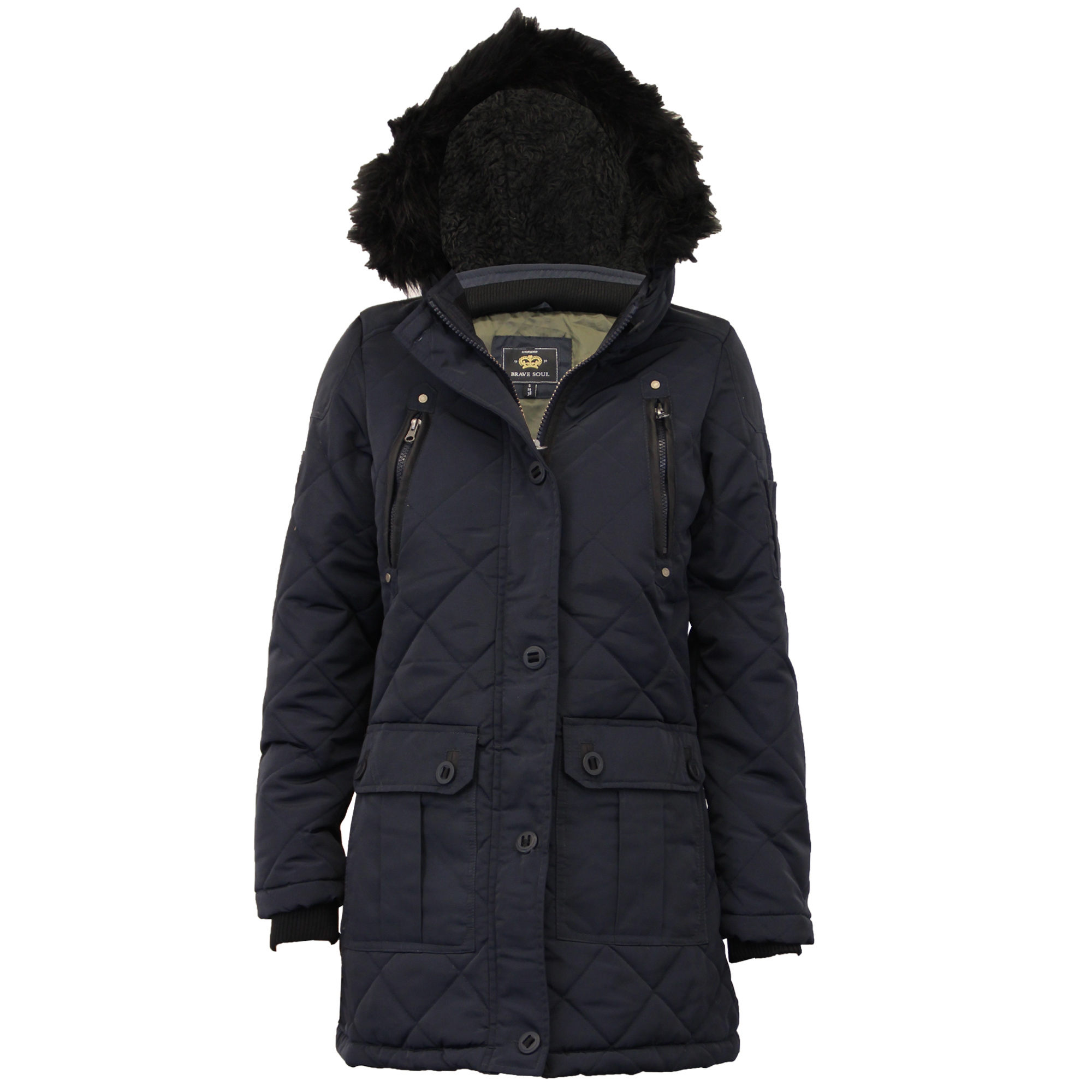 Ladies Parka Jacket Brave Soul Womens Coat Padded Hooded Quilted Faux Fur Winter
