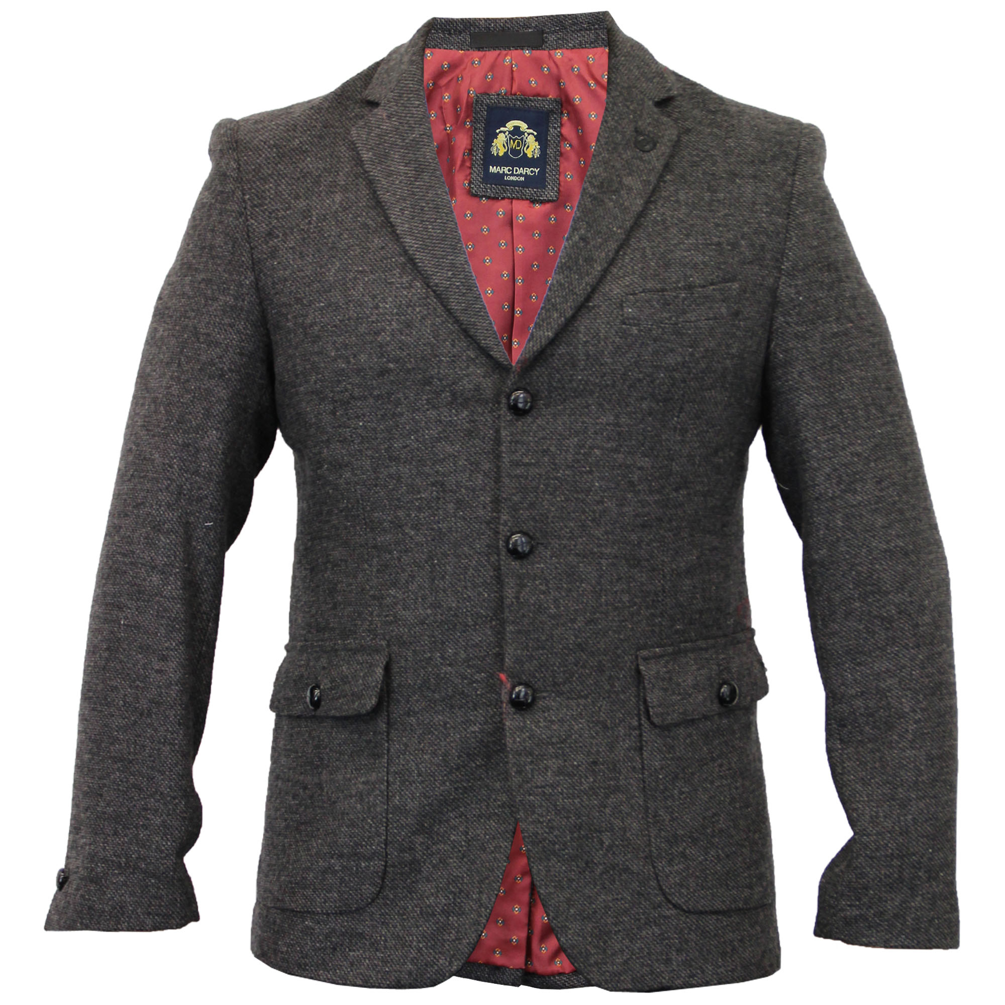 Mens-Blazer-Marc-Darcy-Coat-Formal-Suit-Jacket-Patches-Herringbone-Designer-New