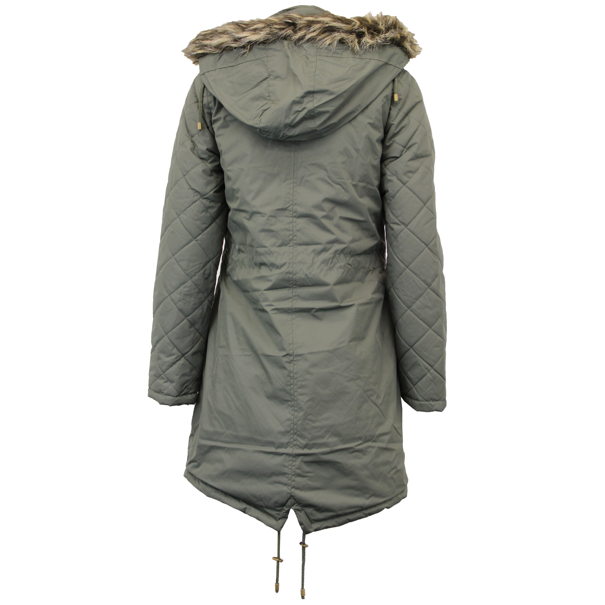 Ladies Parka Jacket Brave Soul Womens Coat Fish Tail Padded Hooded ...