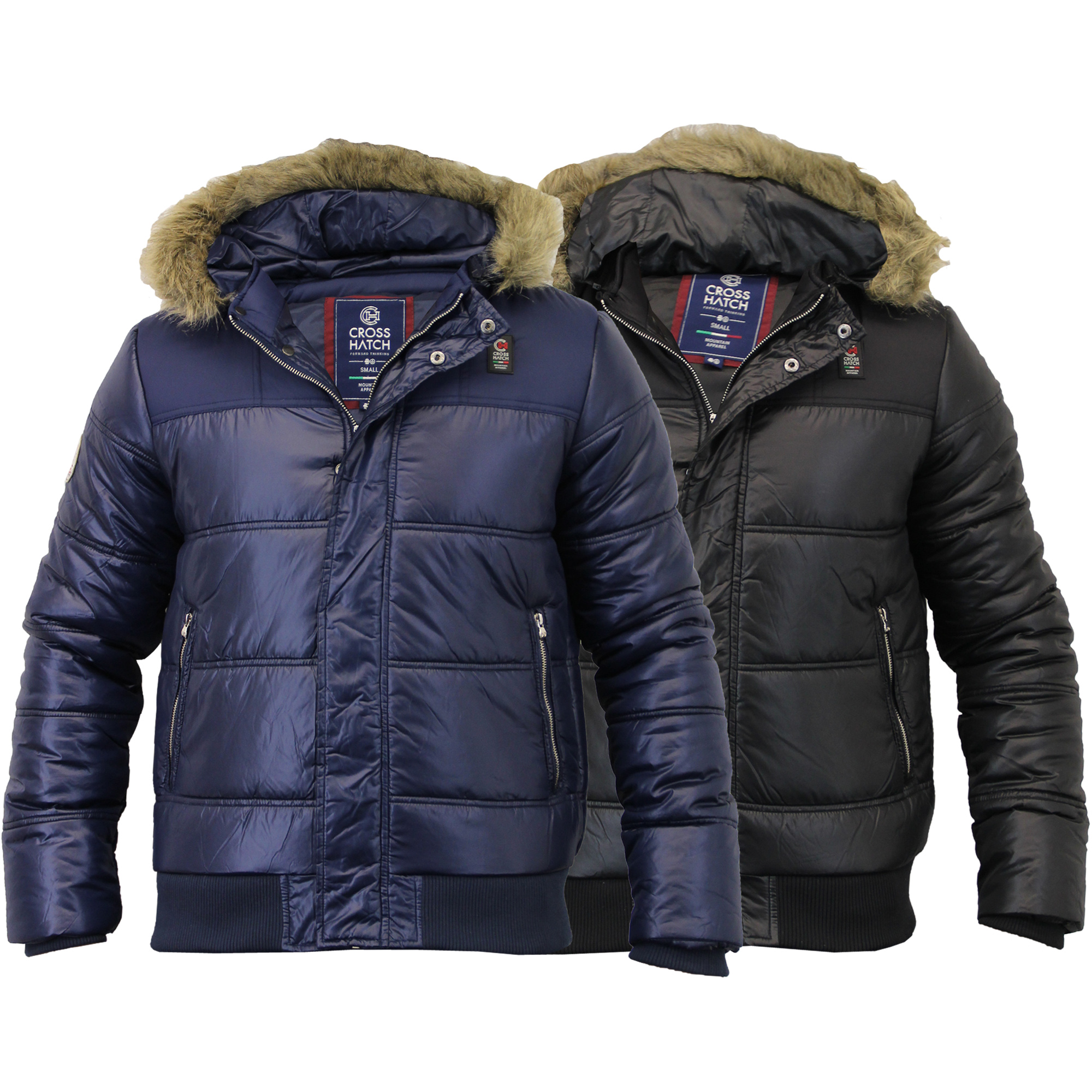 Mens Jacket Crosshatch Coat Hooded Padded Quilted Bubble Puffer ...