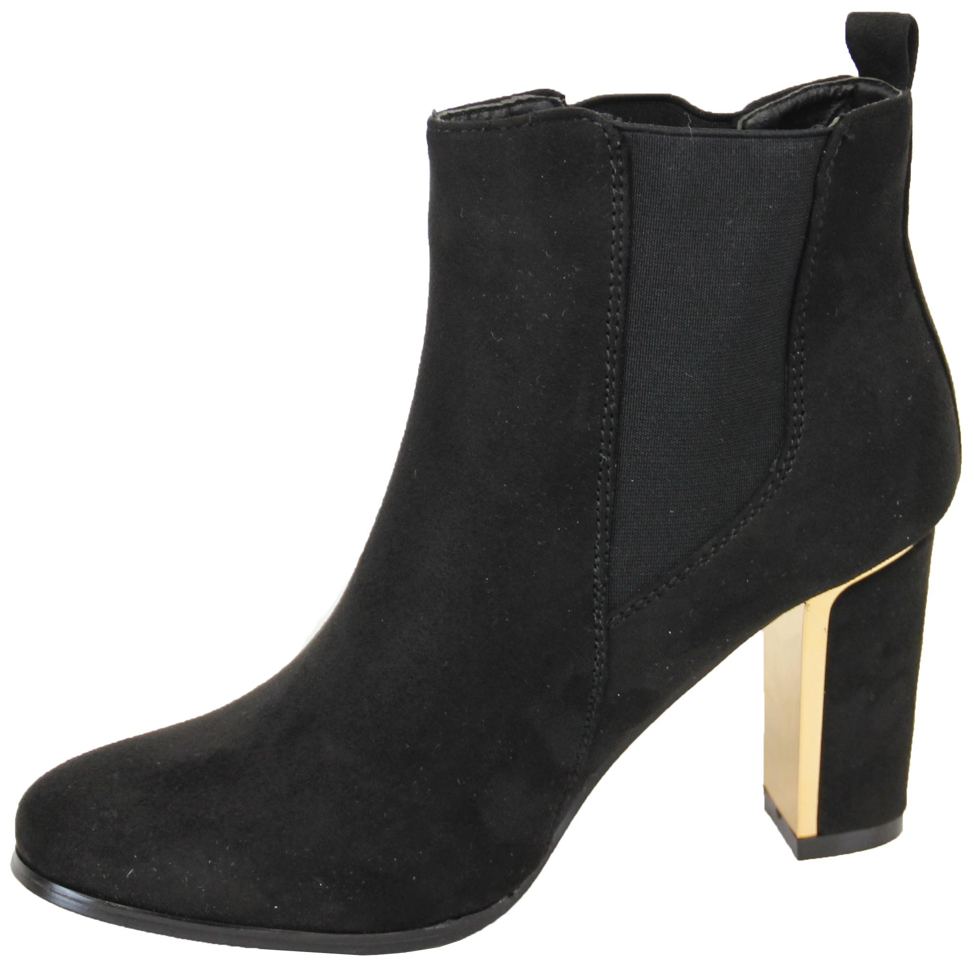 Ladies Chelsea Boots Womens Kelsi Shoes Suede Look Block Heel ...