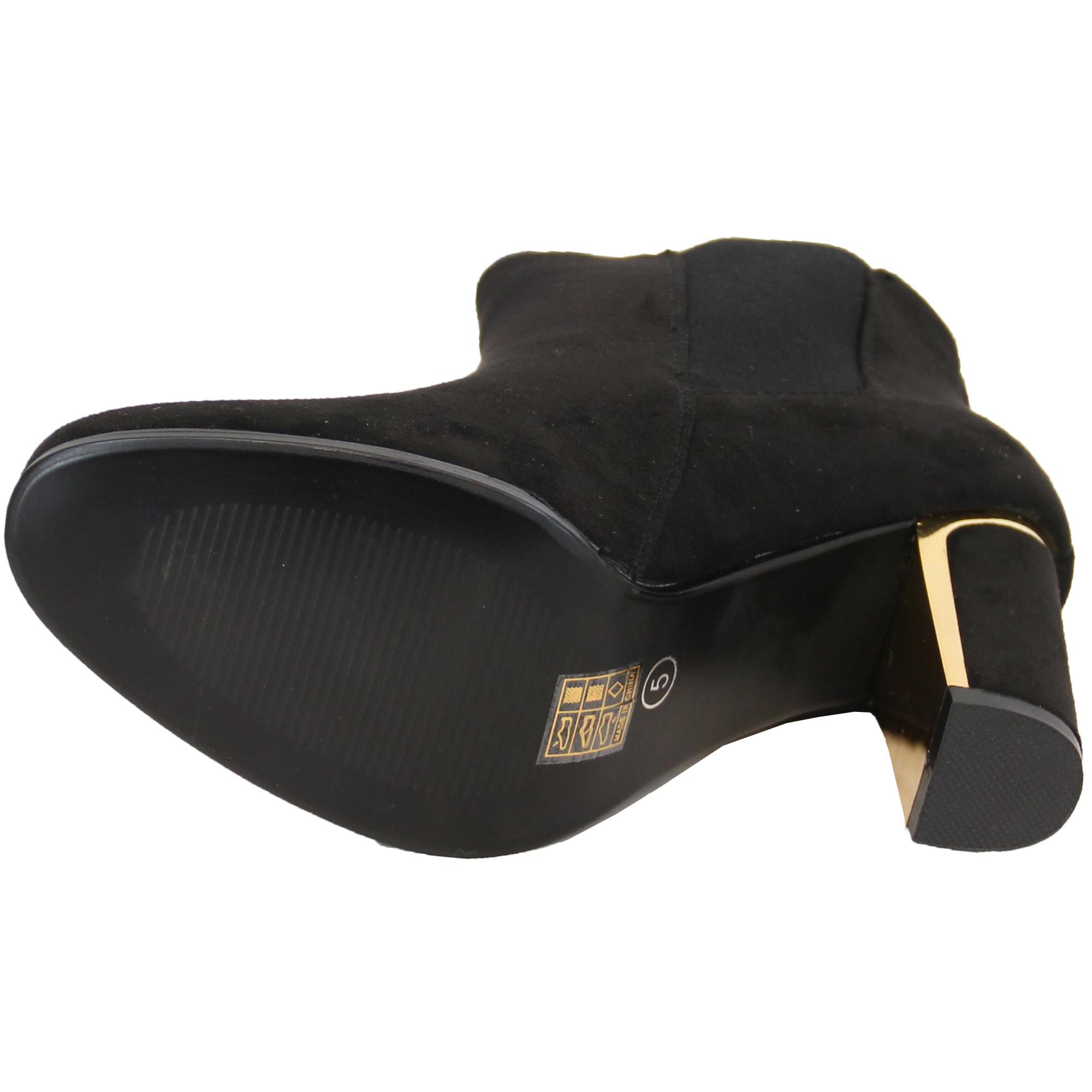 Ladies Chelsea Boots Womens Kelsi Shoes Suede Look Block Heel Snake Effect Party