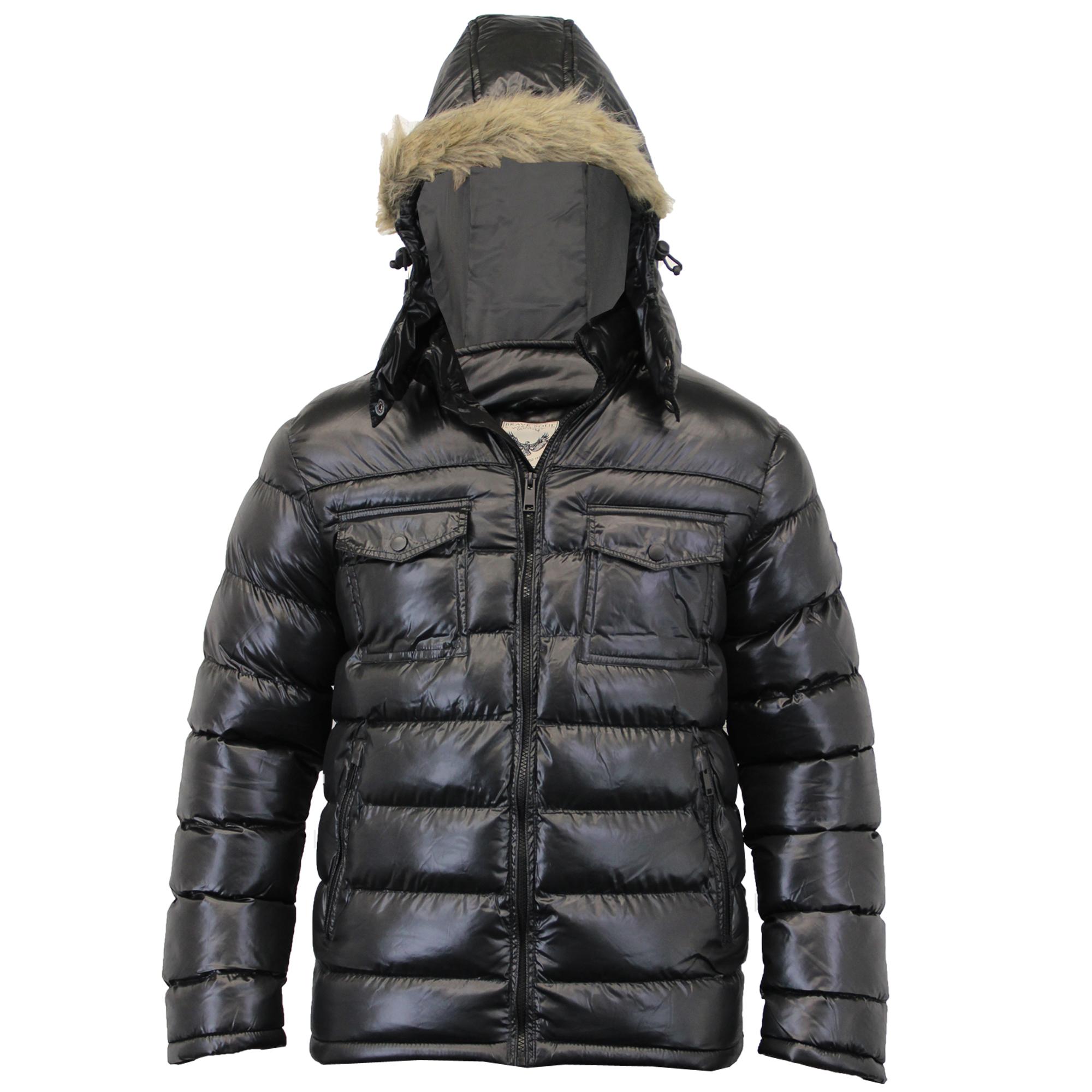 mens jacket brave soul coat padded hooded puffer faux fur. Black Bedroom Furniture Sets. Home Design Ideas