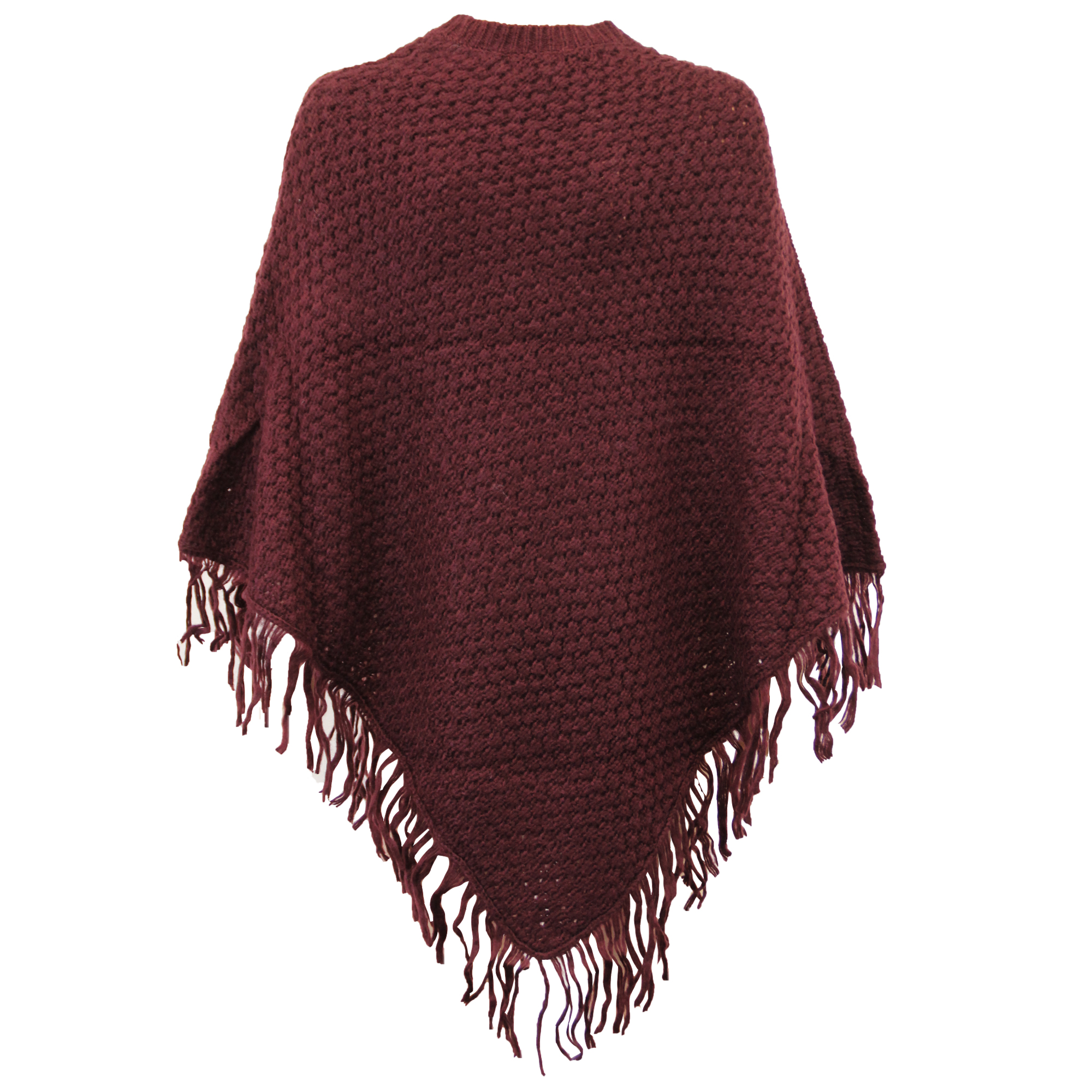 Ladies Poncho Shawl Cape Womens Cable Knitted Jumper Pullover Tassels Winter New