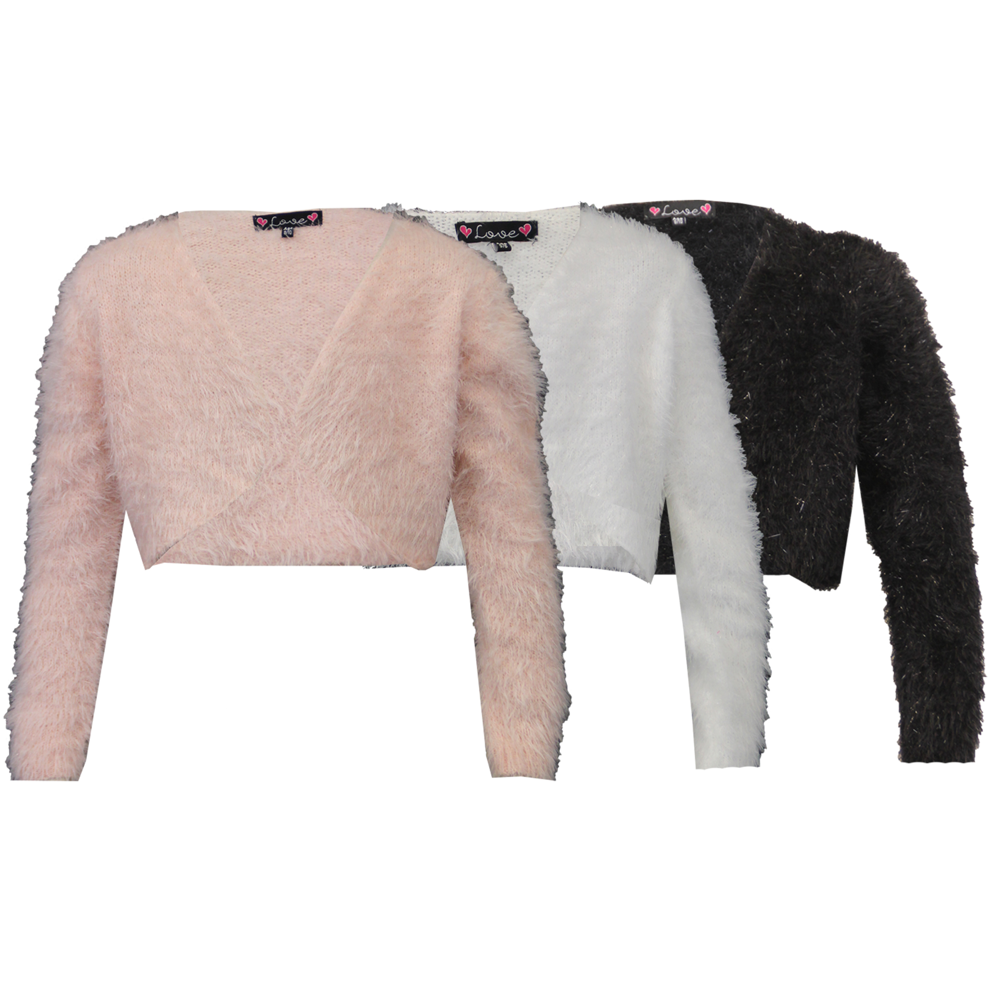 Girls Cardigan Kids Crop Top Knitted Bolero Shrug Mohair Fluffy ...